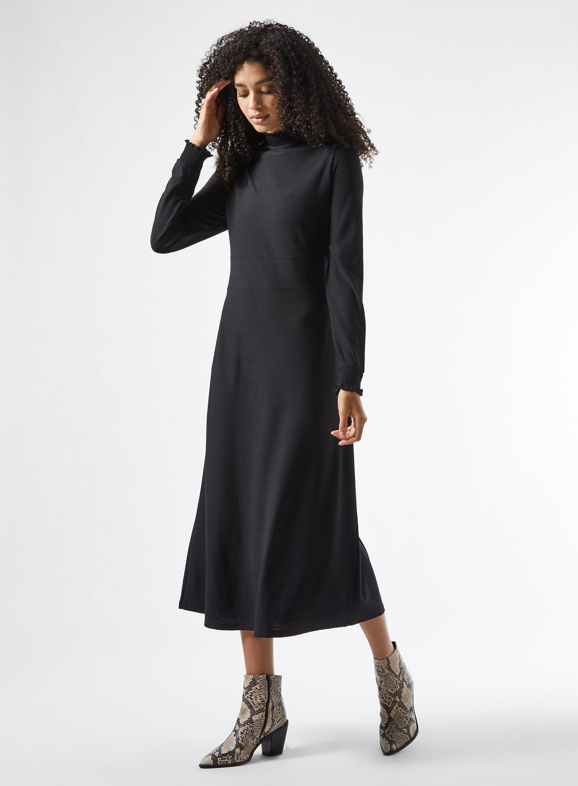Black Sheered Neck Midi Dress