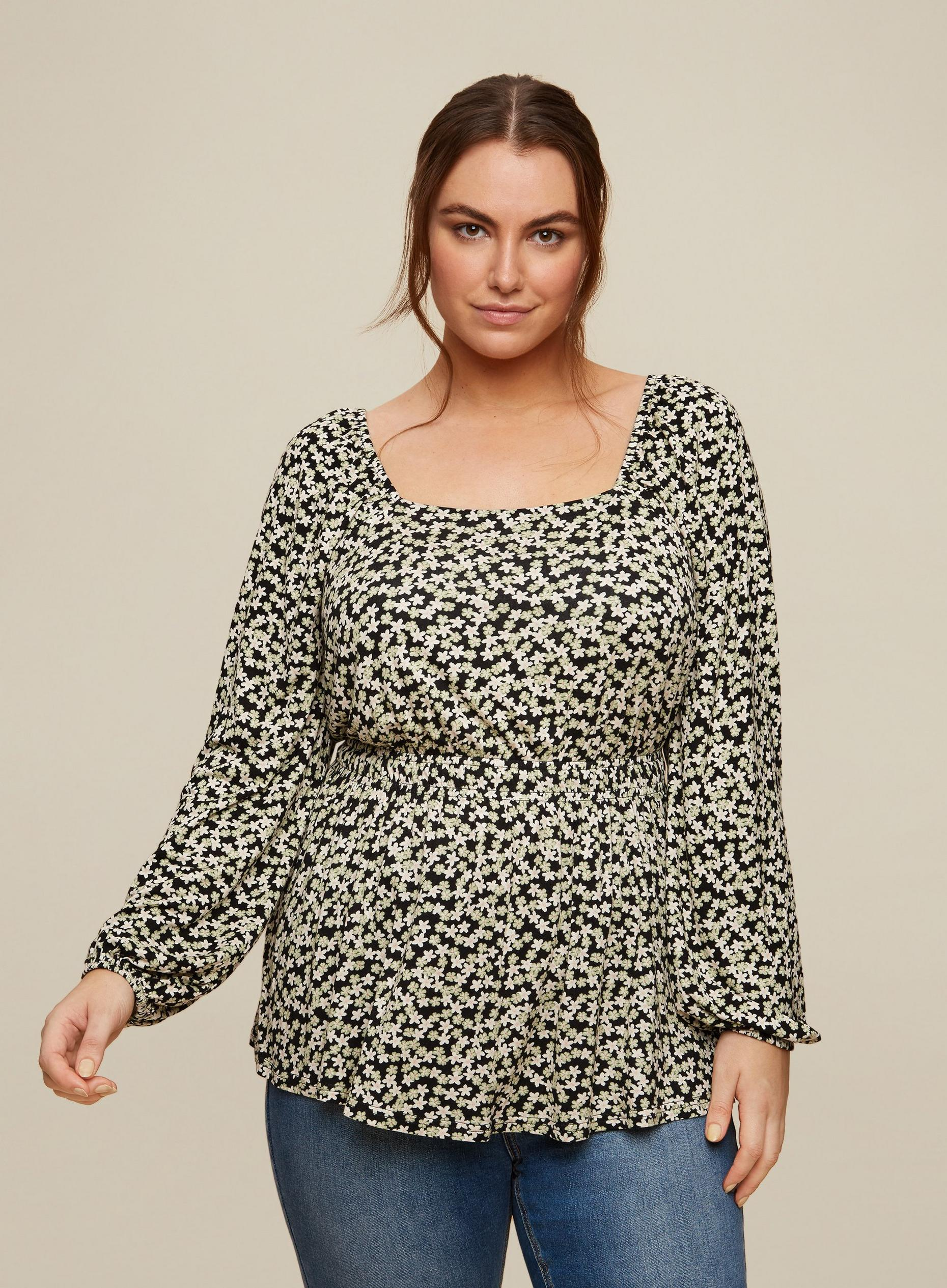 Curve Ditsy Floral Print Top