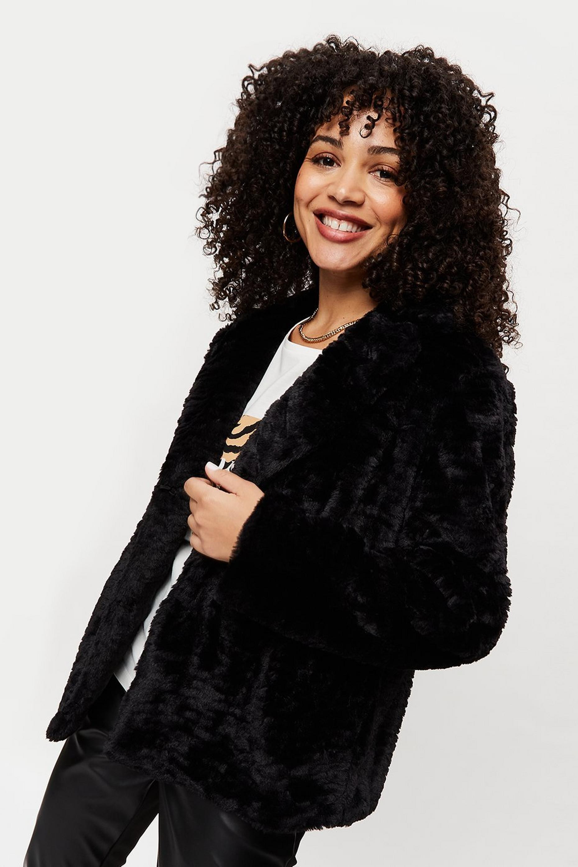 Black Short Textured Faux Fur Coat