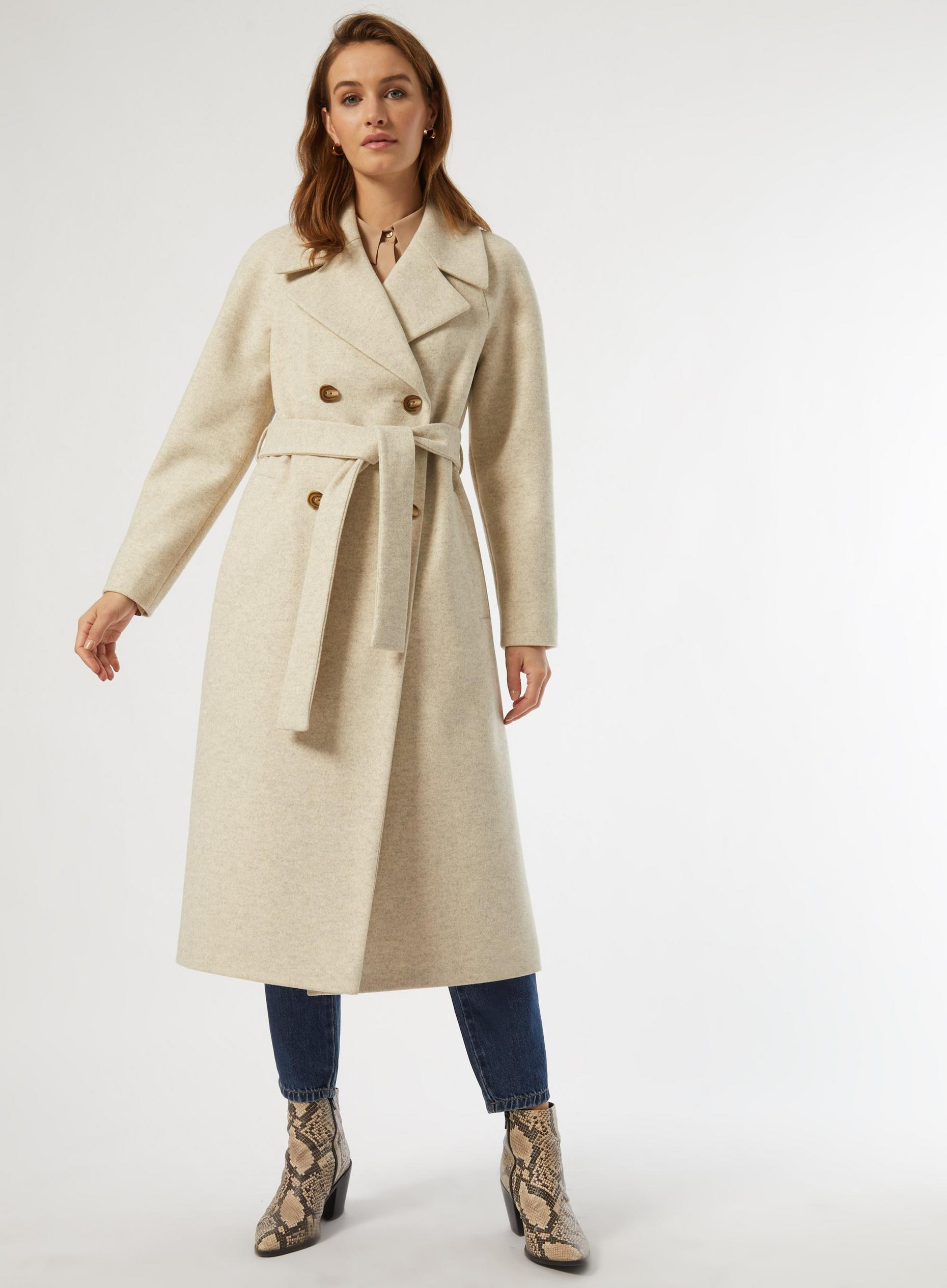 Ivory Double Breasted Wrap Maxi Coat