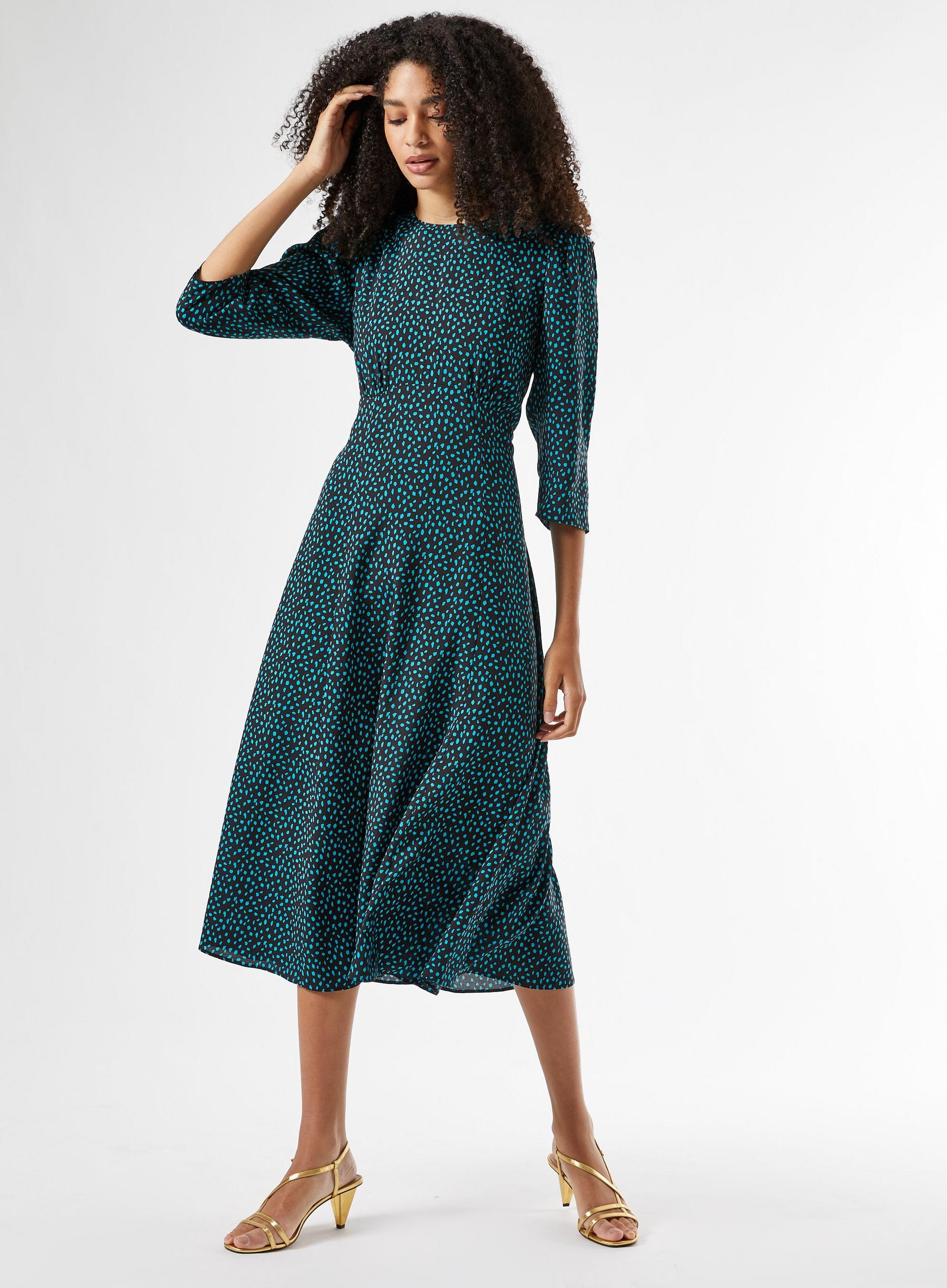 Green Spot Empire Midi Dress