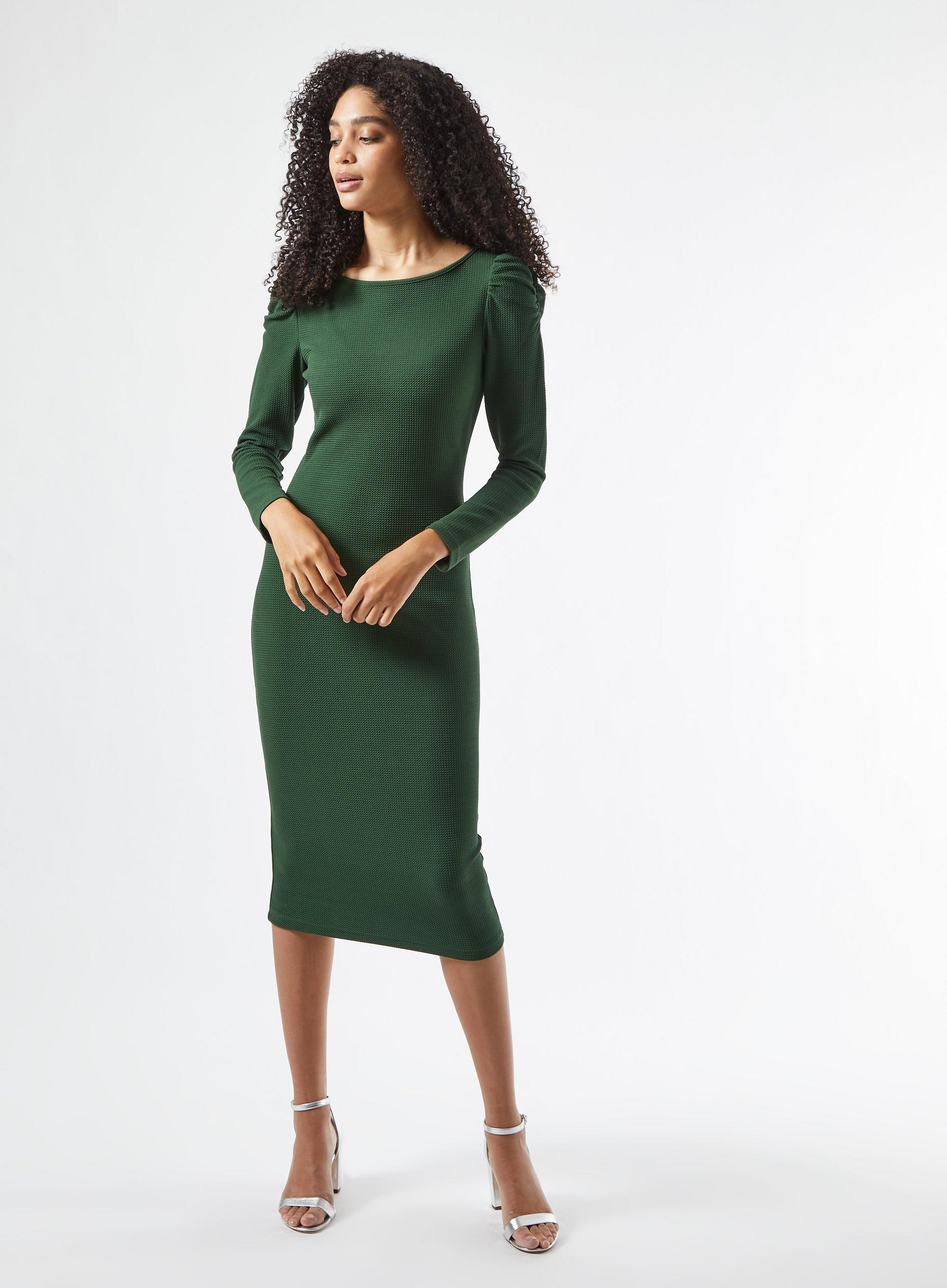 Khaki Ruched Sleeve Bodycon Dress