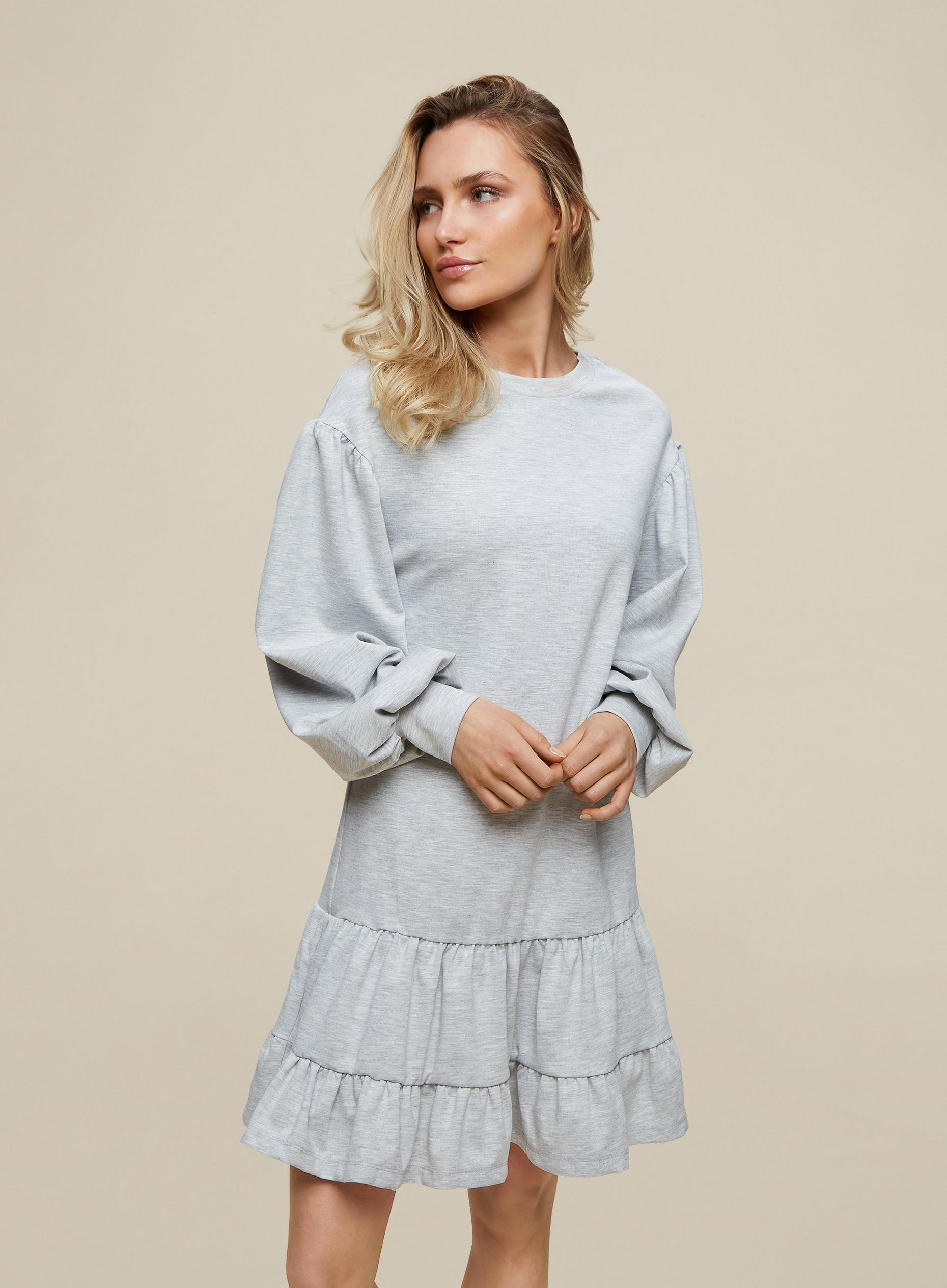 Grey Tiered Sweatshirt Dress