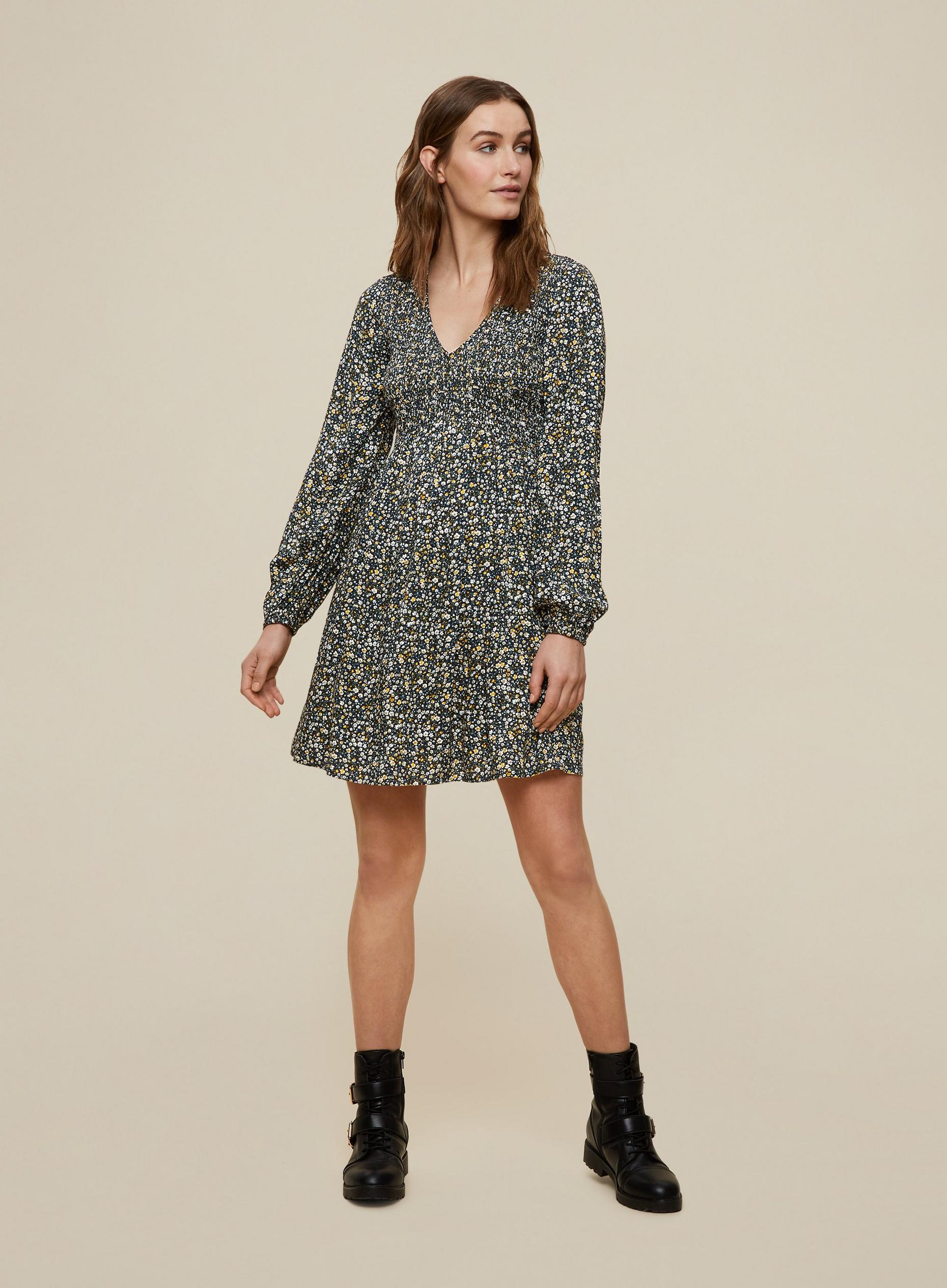 Green Ditsy Print Sheered Sleeve Dress