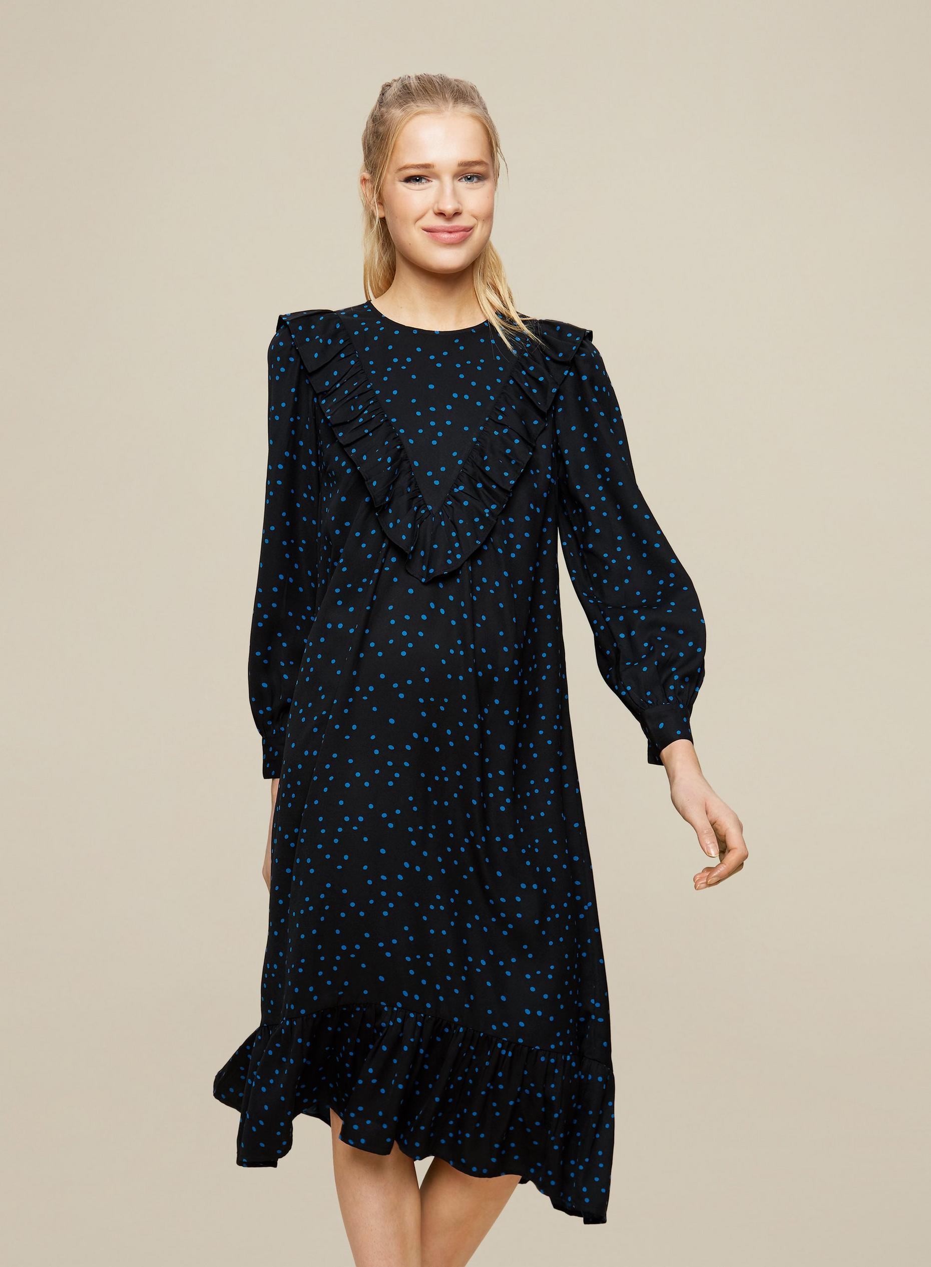 Black Spot print Frill Midi Dress