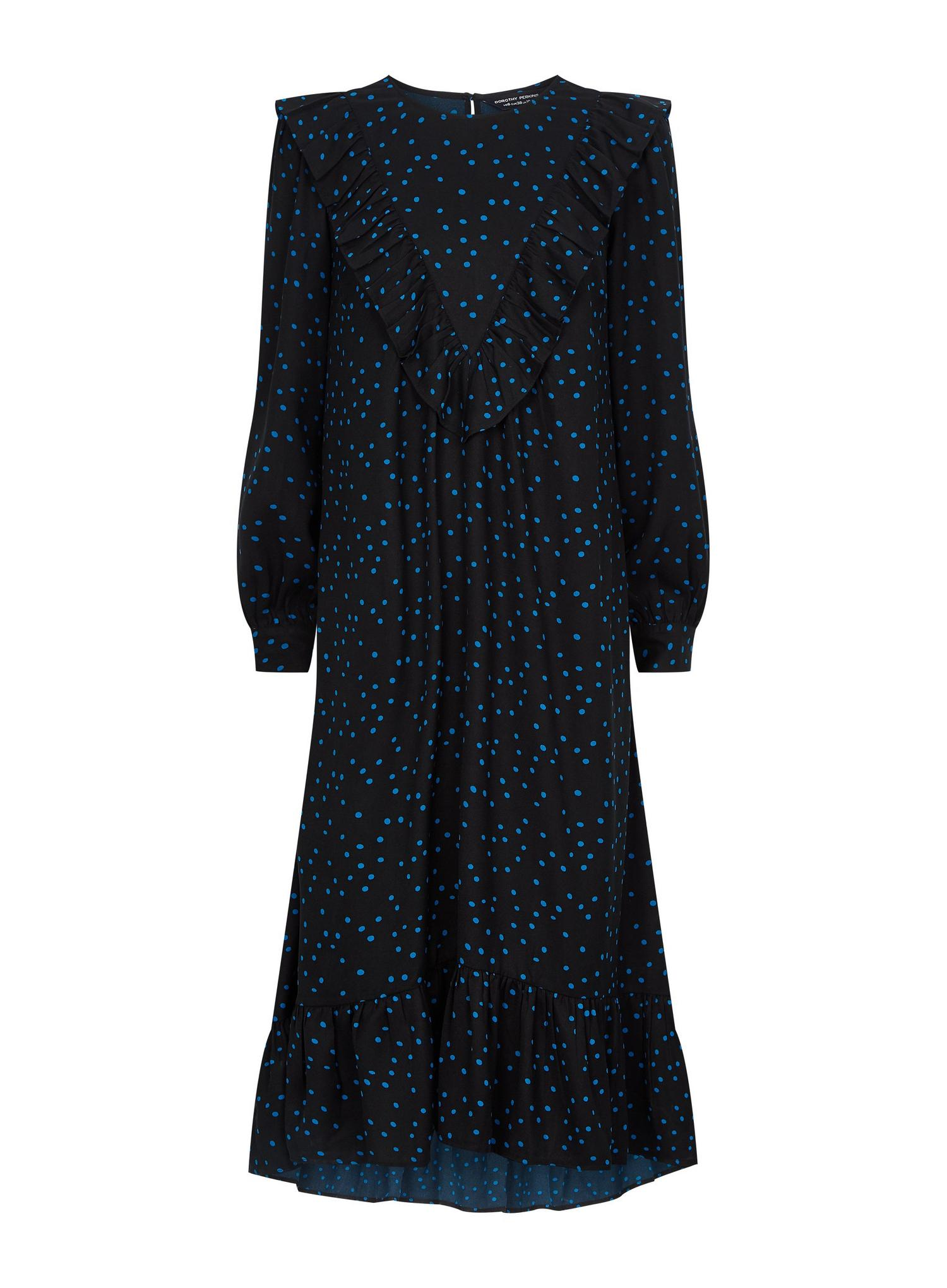 105 Black Spot print Frill Midi Dress image number 2