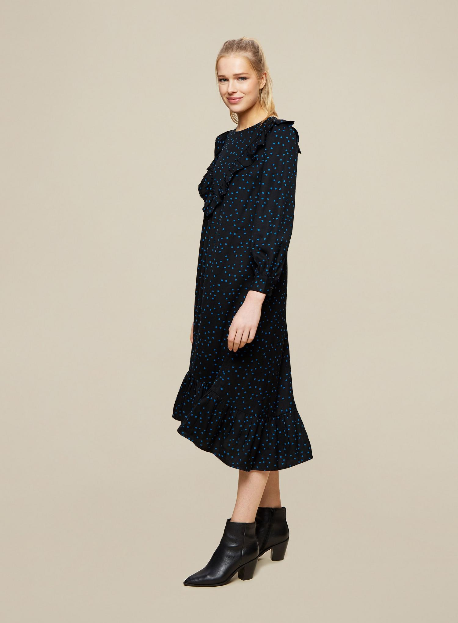 105 Black Spot print Frill Midi Dress image number 3
