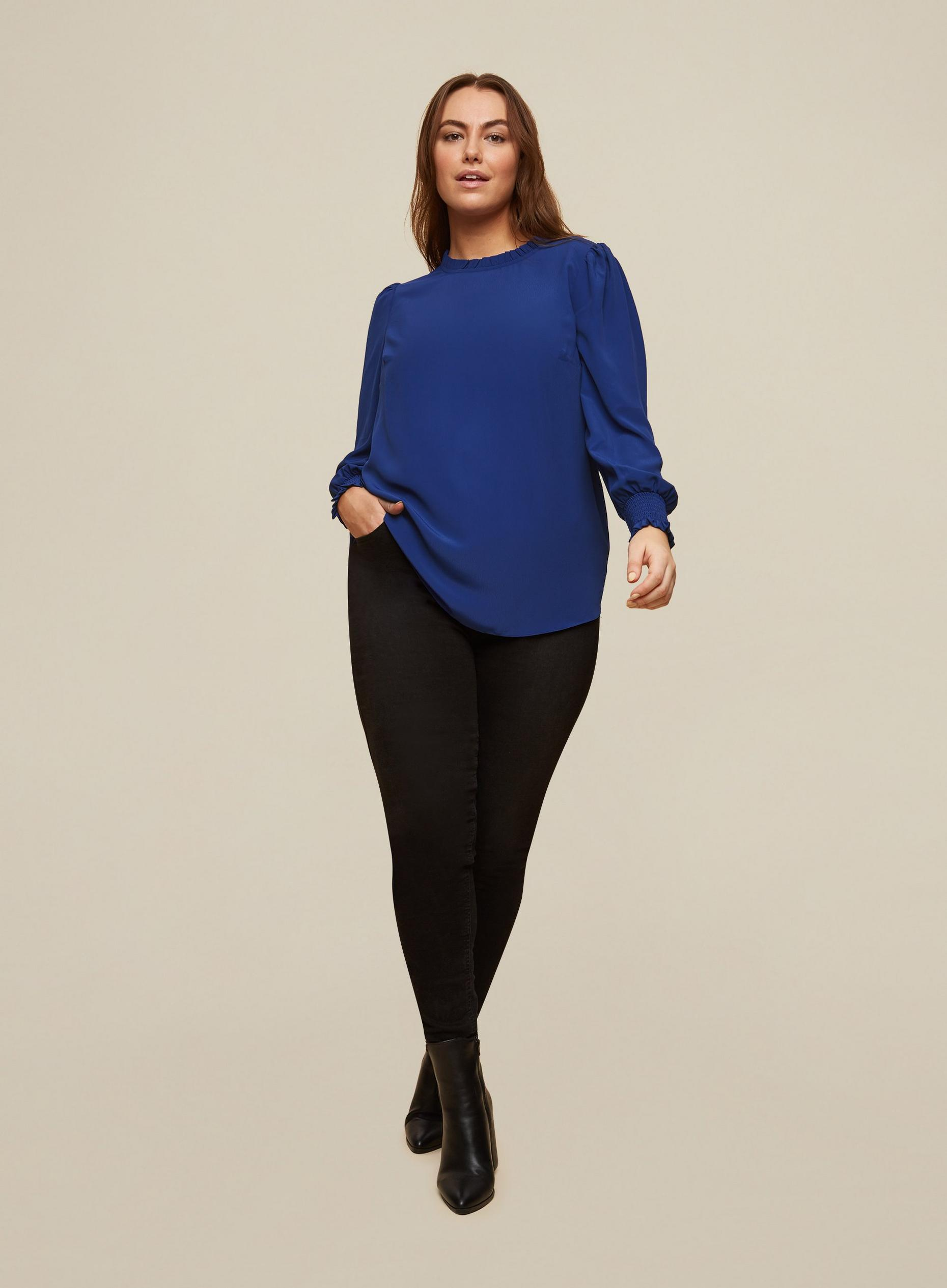 Curve Cobalt Shirred Cuff Top