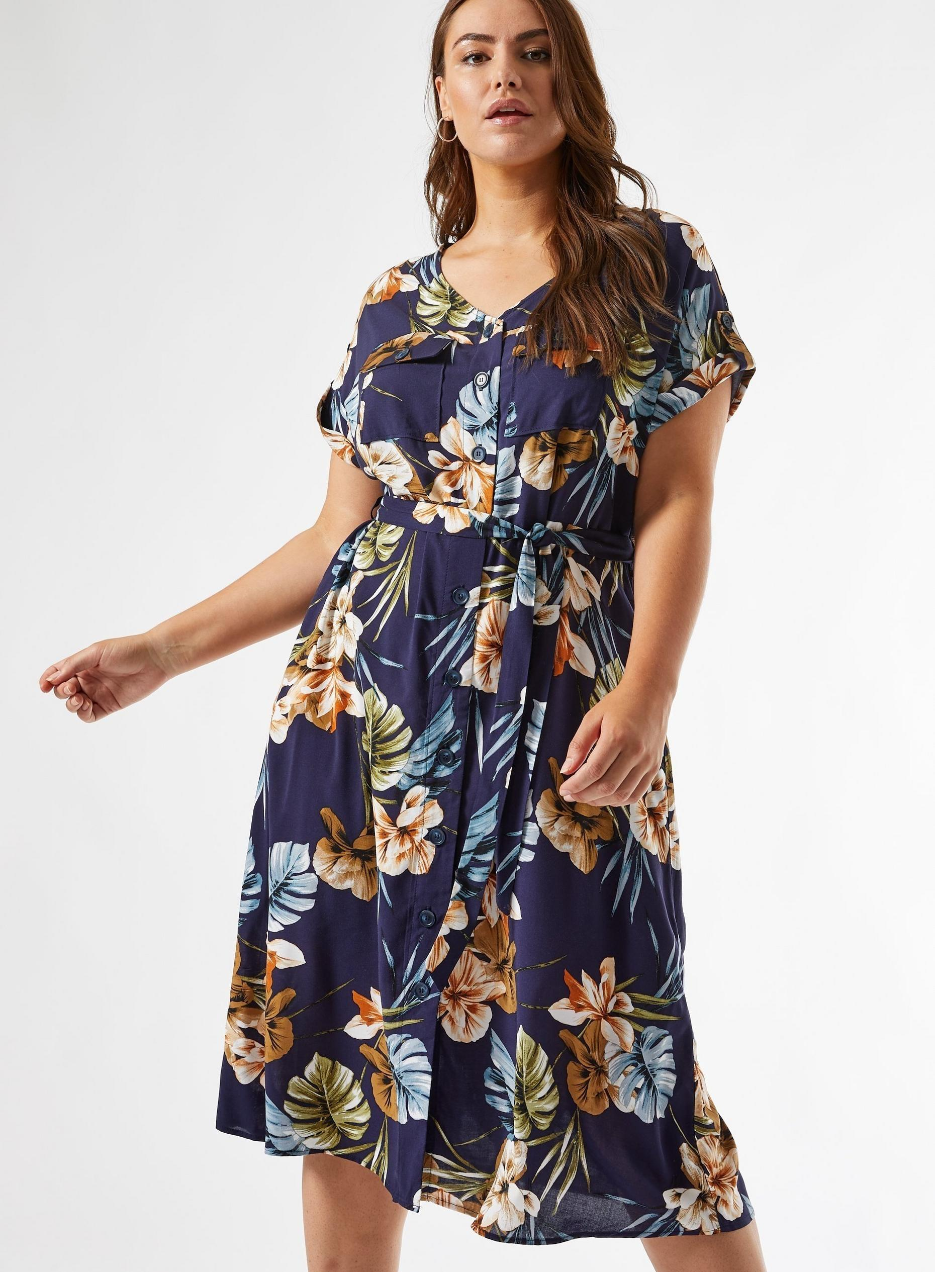 Curve Navy Floral Print Dress