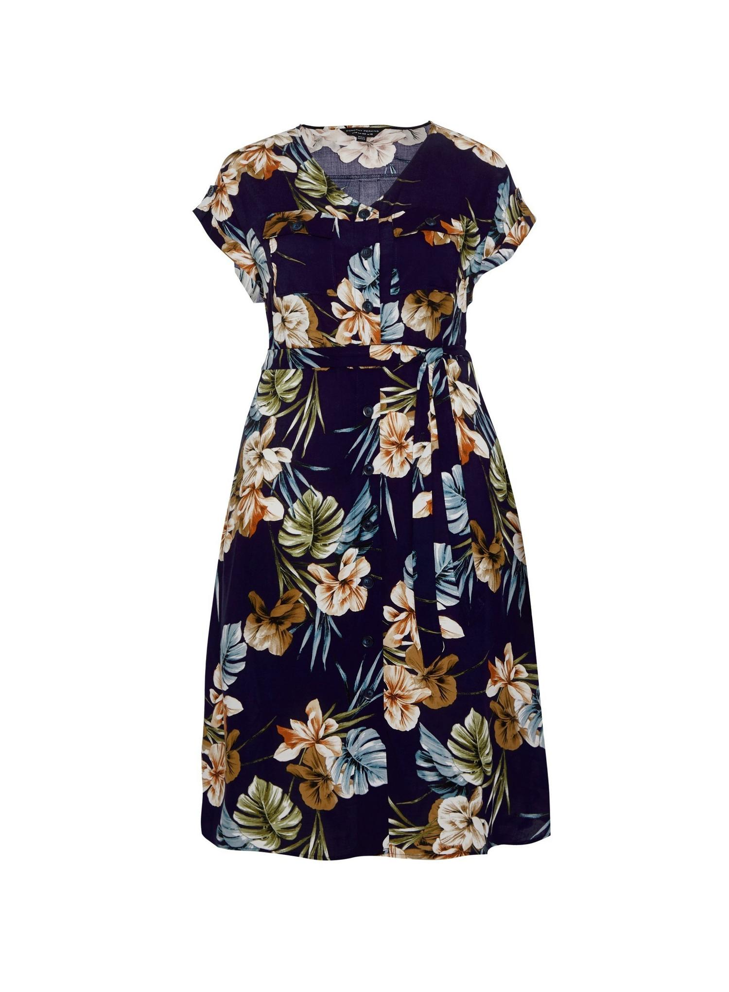 148 Curve Navy Floral Print Dress image number 4