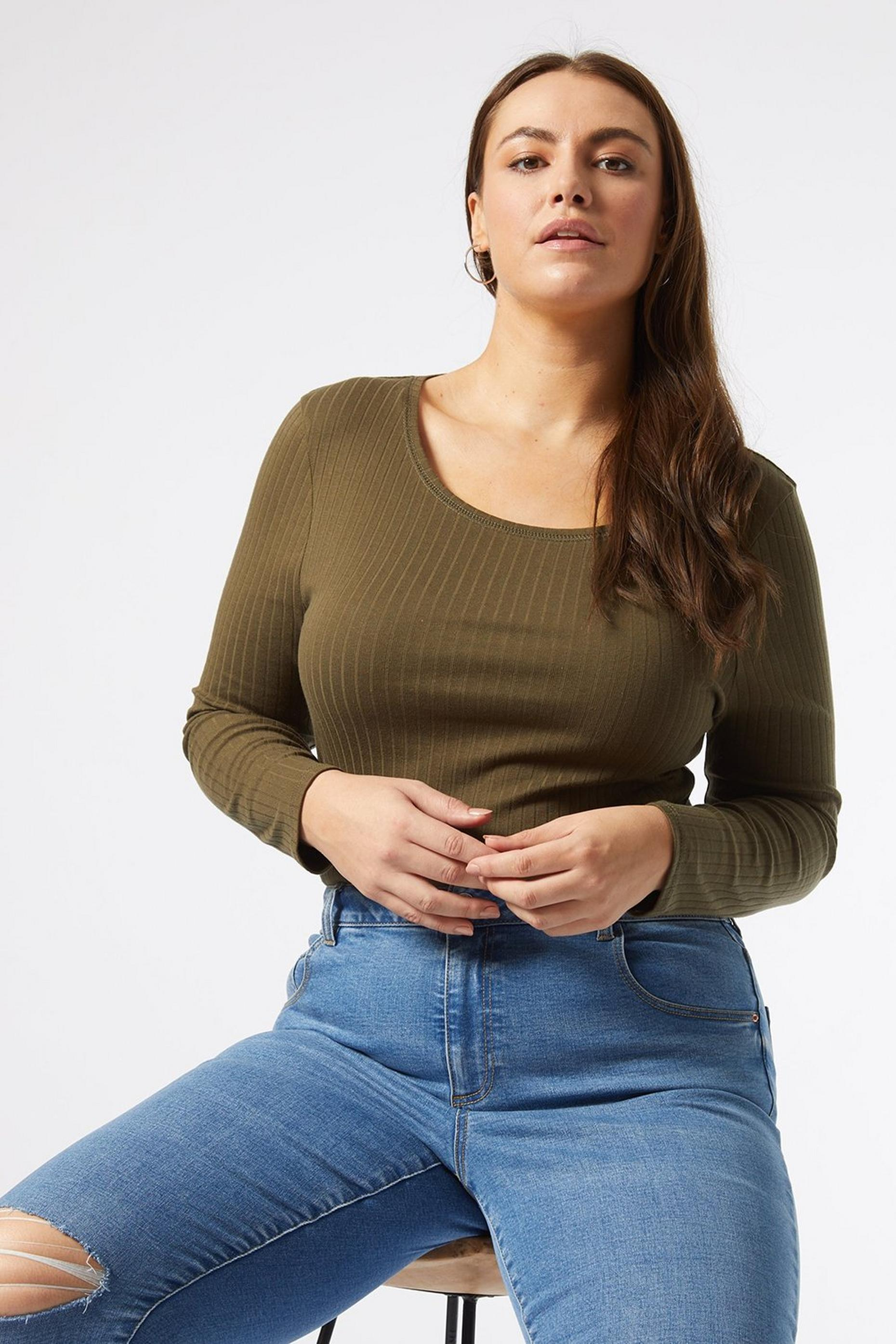 Curve Khaki Ribbed Top