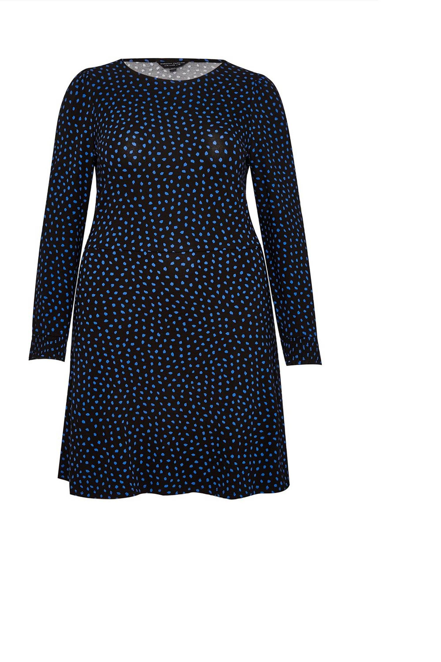 105 Curve Navy Spot Dress image number 1