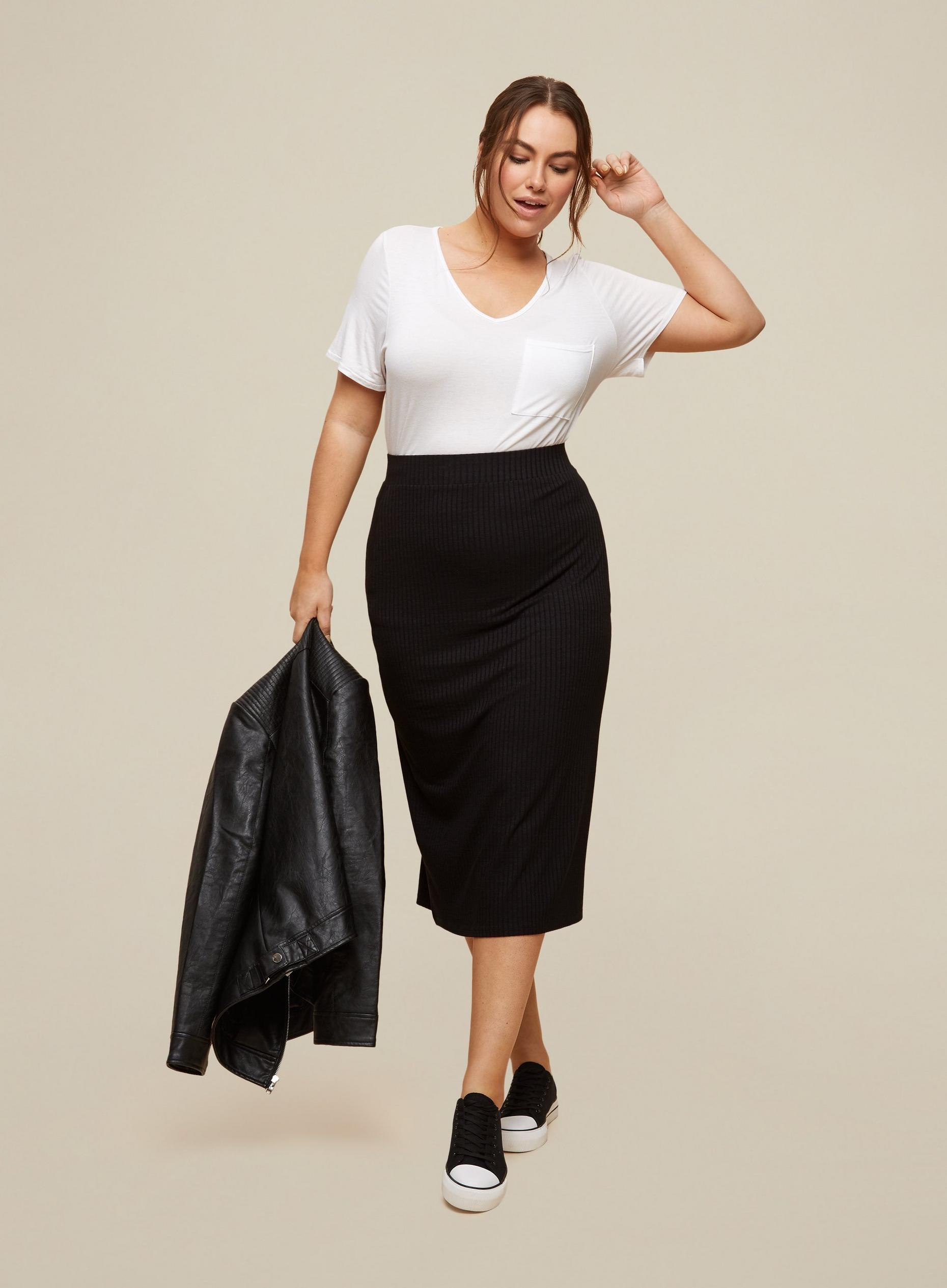 Curve Black Ribbed Skirt