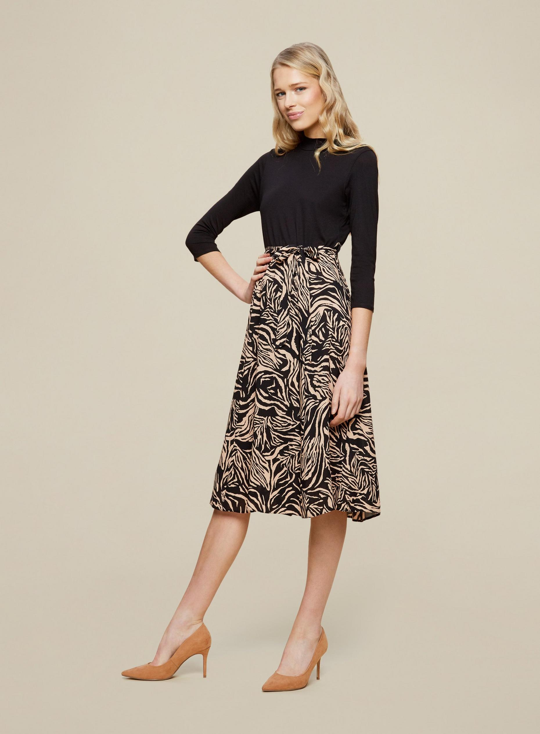 Black Zebra 2-In-1 Midi Dress