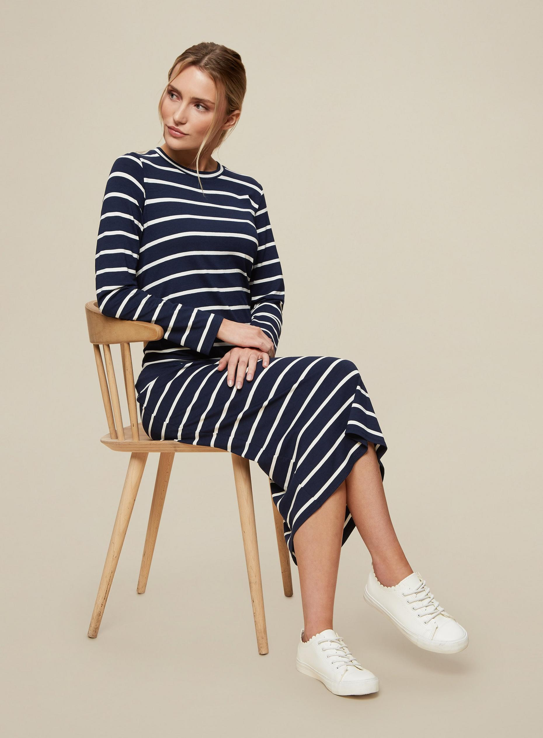 Navy Stripe Print Midi Dress