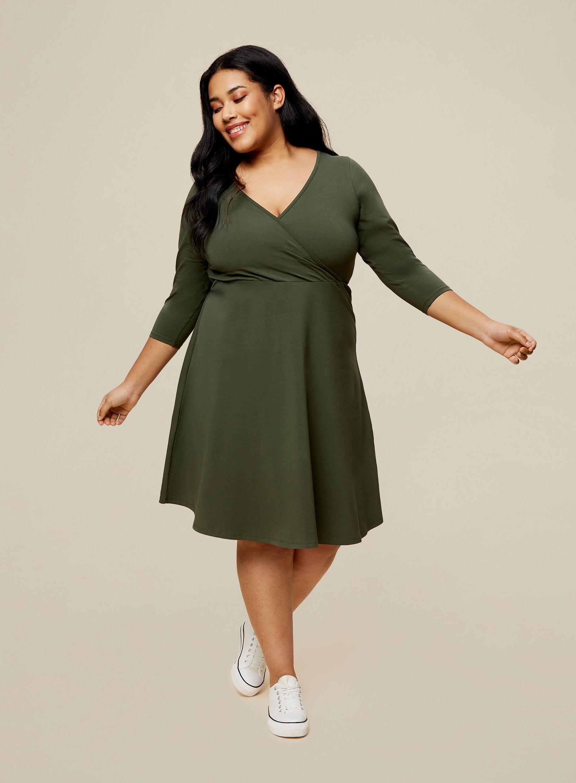 Curve Khaki Wrap Dress