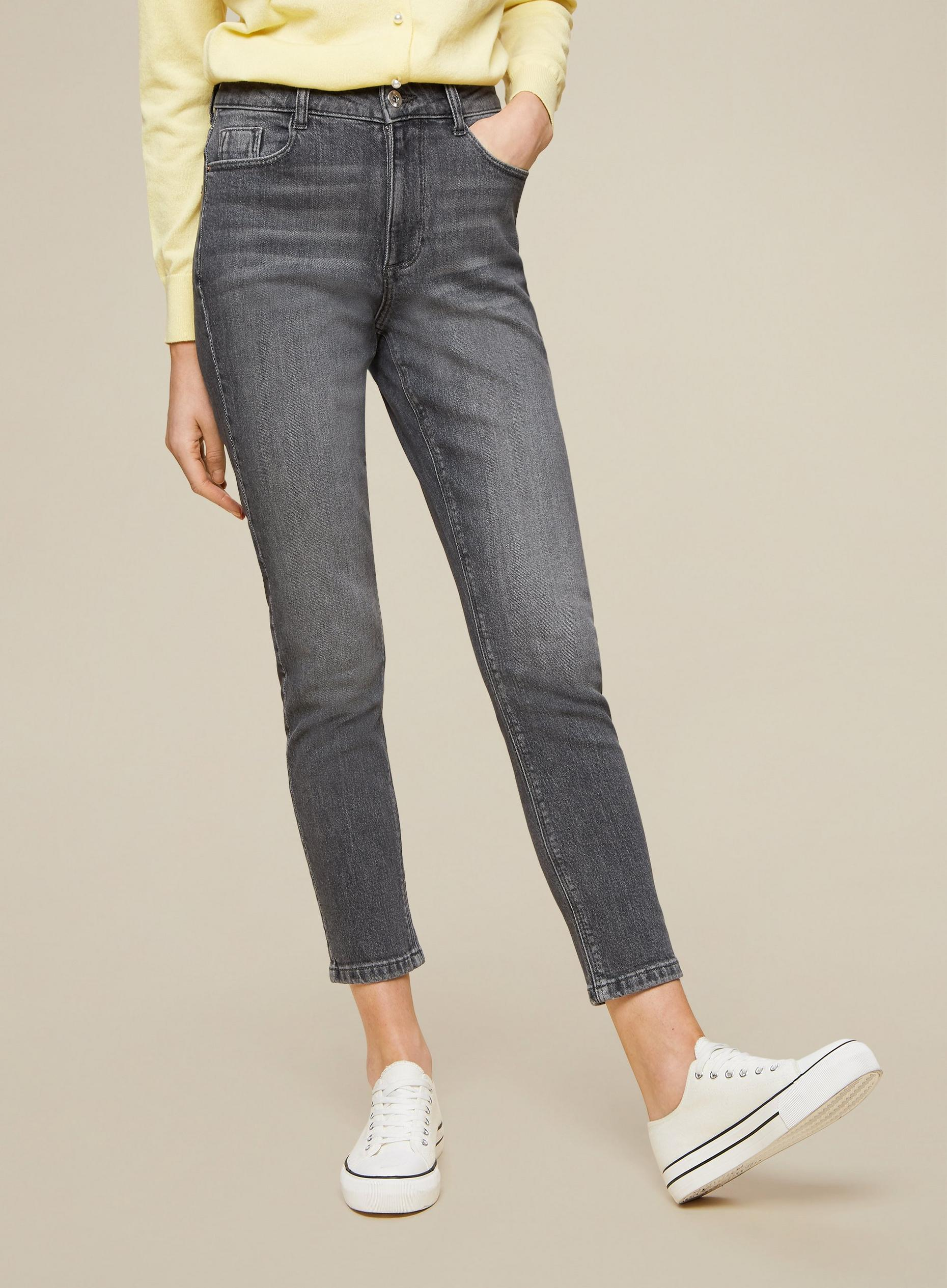 Grey Regular Mom Jeans With Organic Cotton