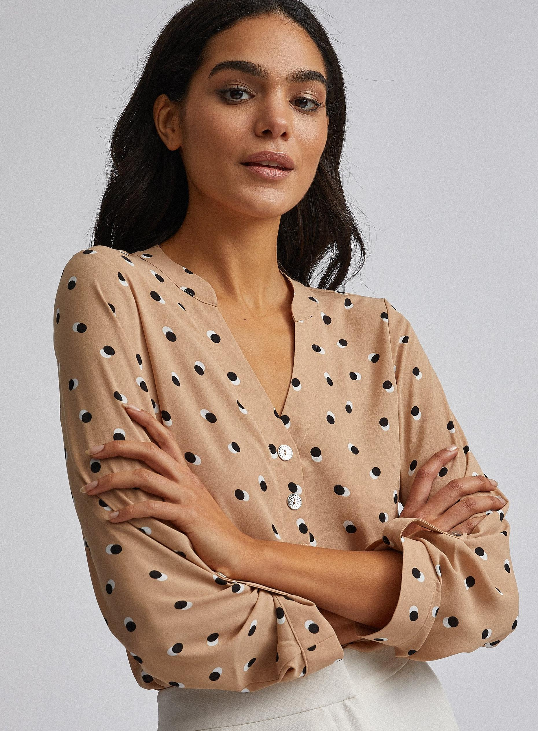 Camel Polka Dot Print Two Button Shirt