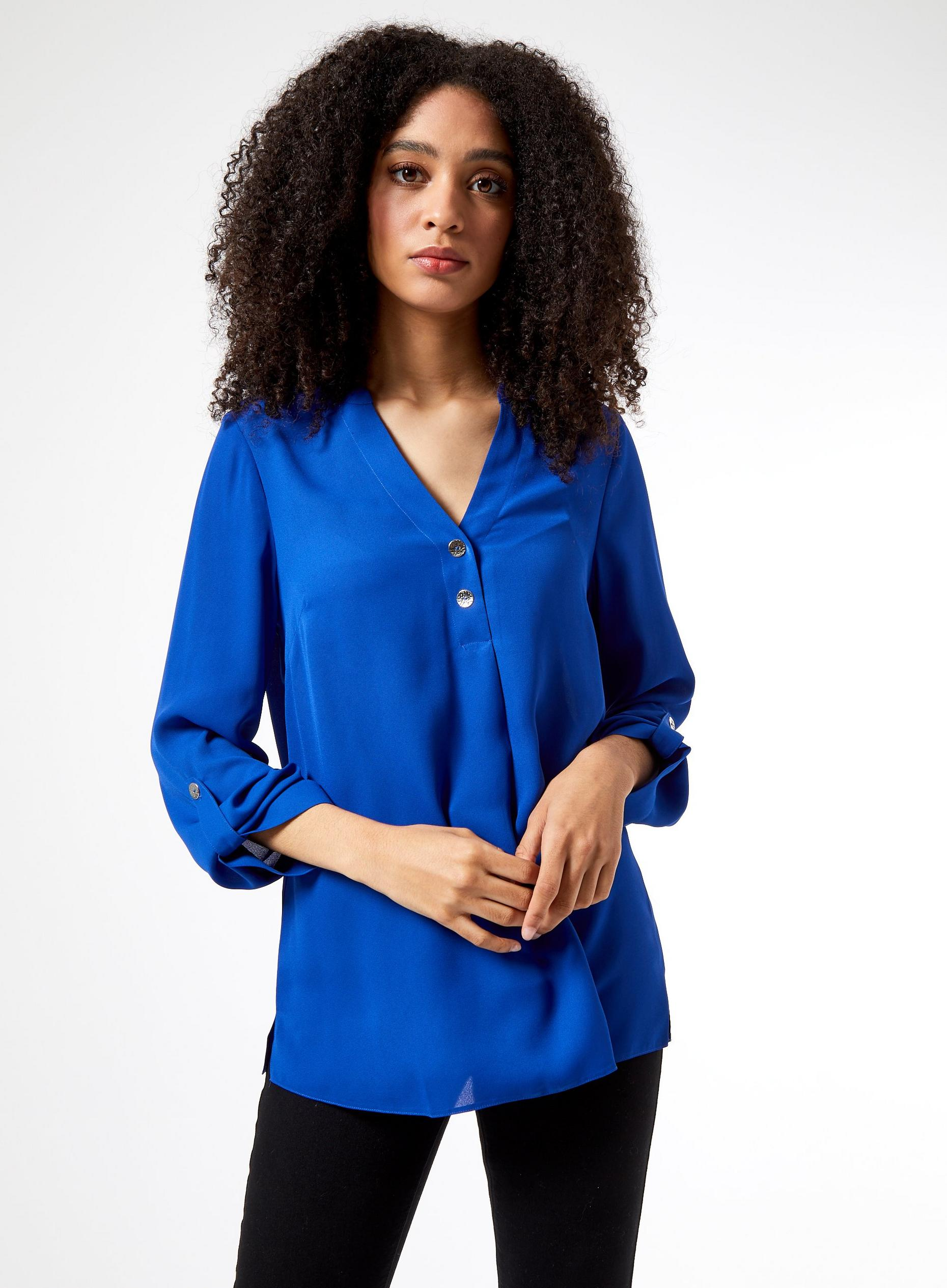 Cobalt 2 Button Roll Sleeve Shirt