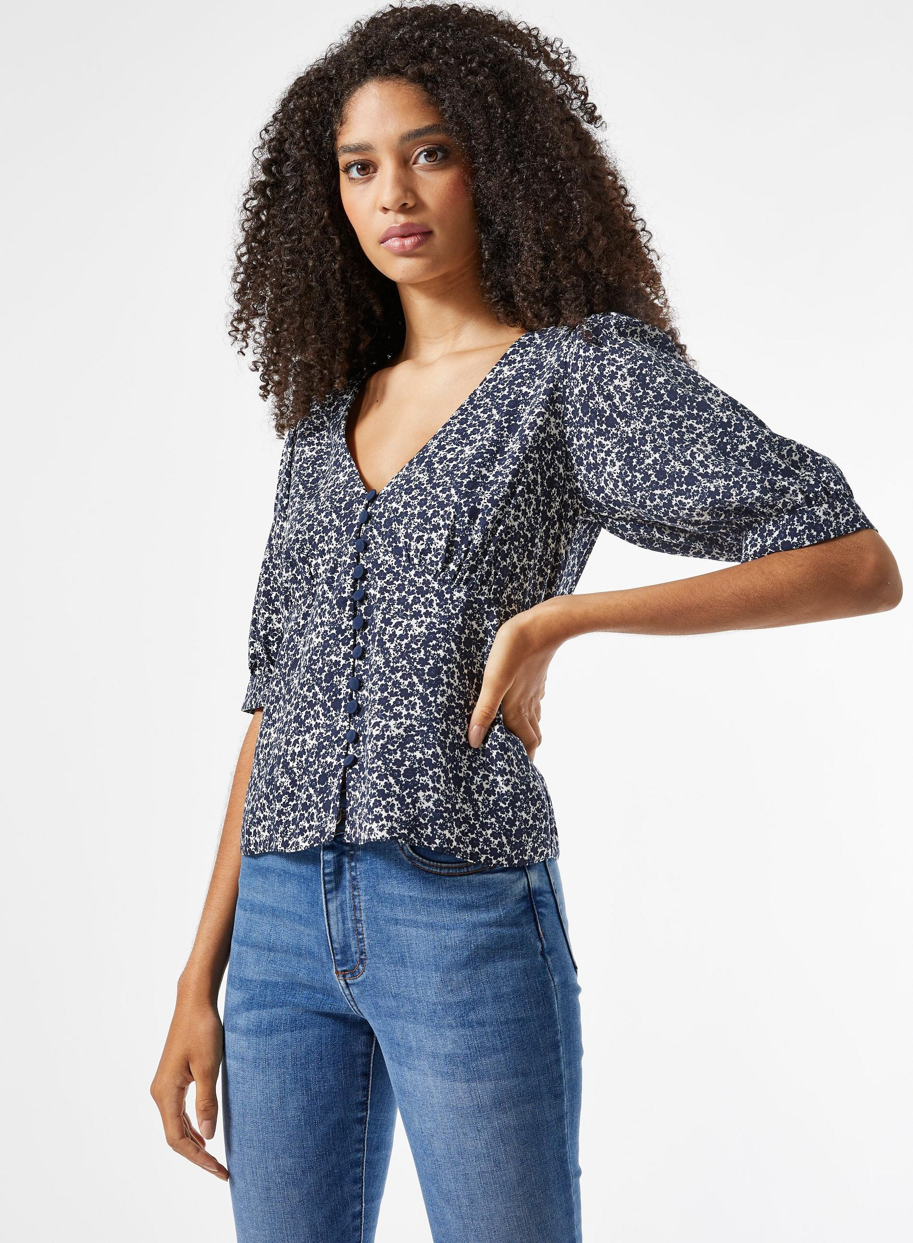 Blue Floral Print Button Top