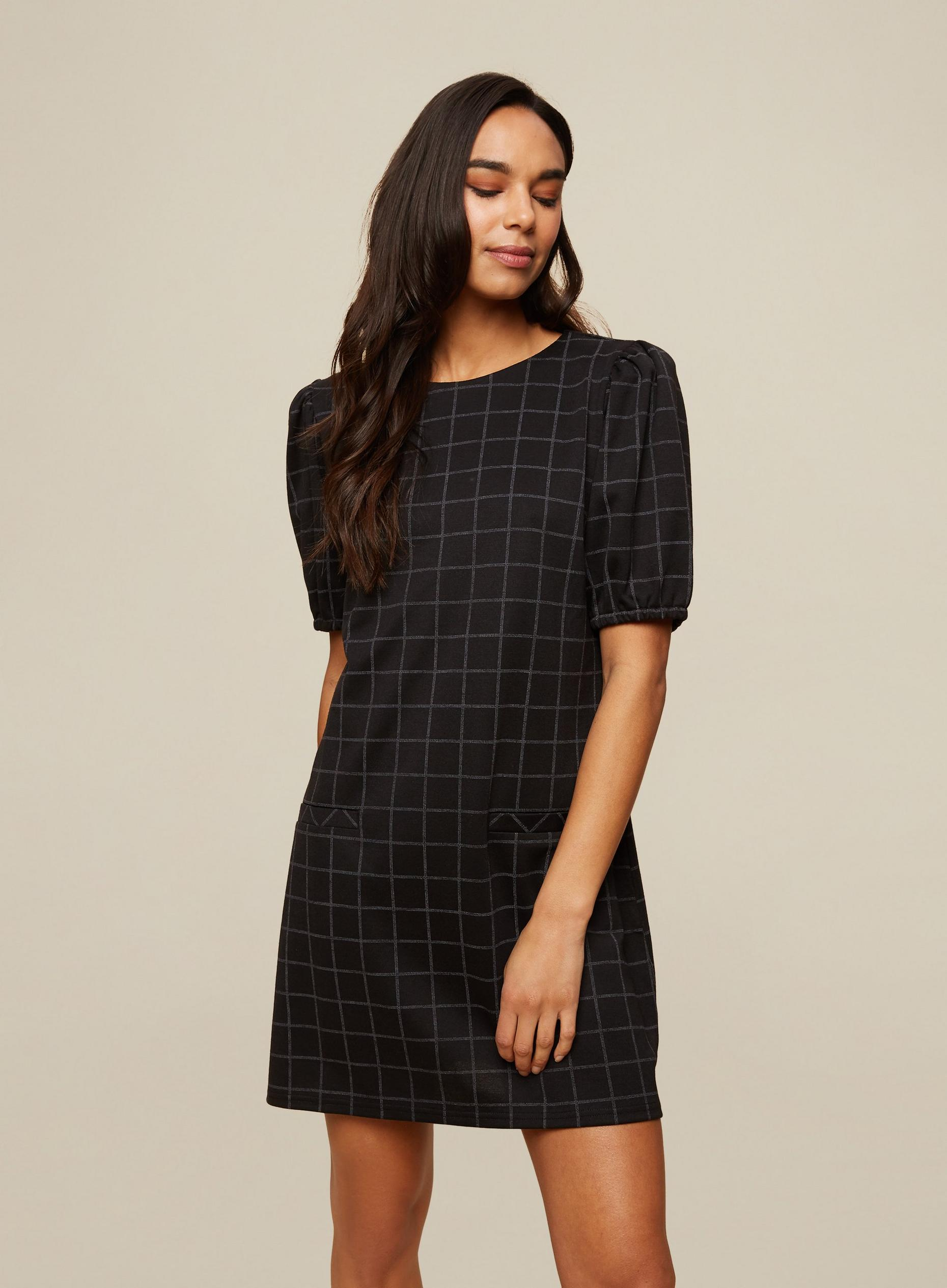 Black Check Print Tunic