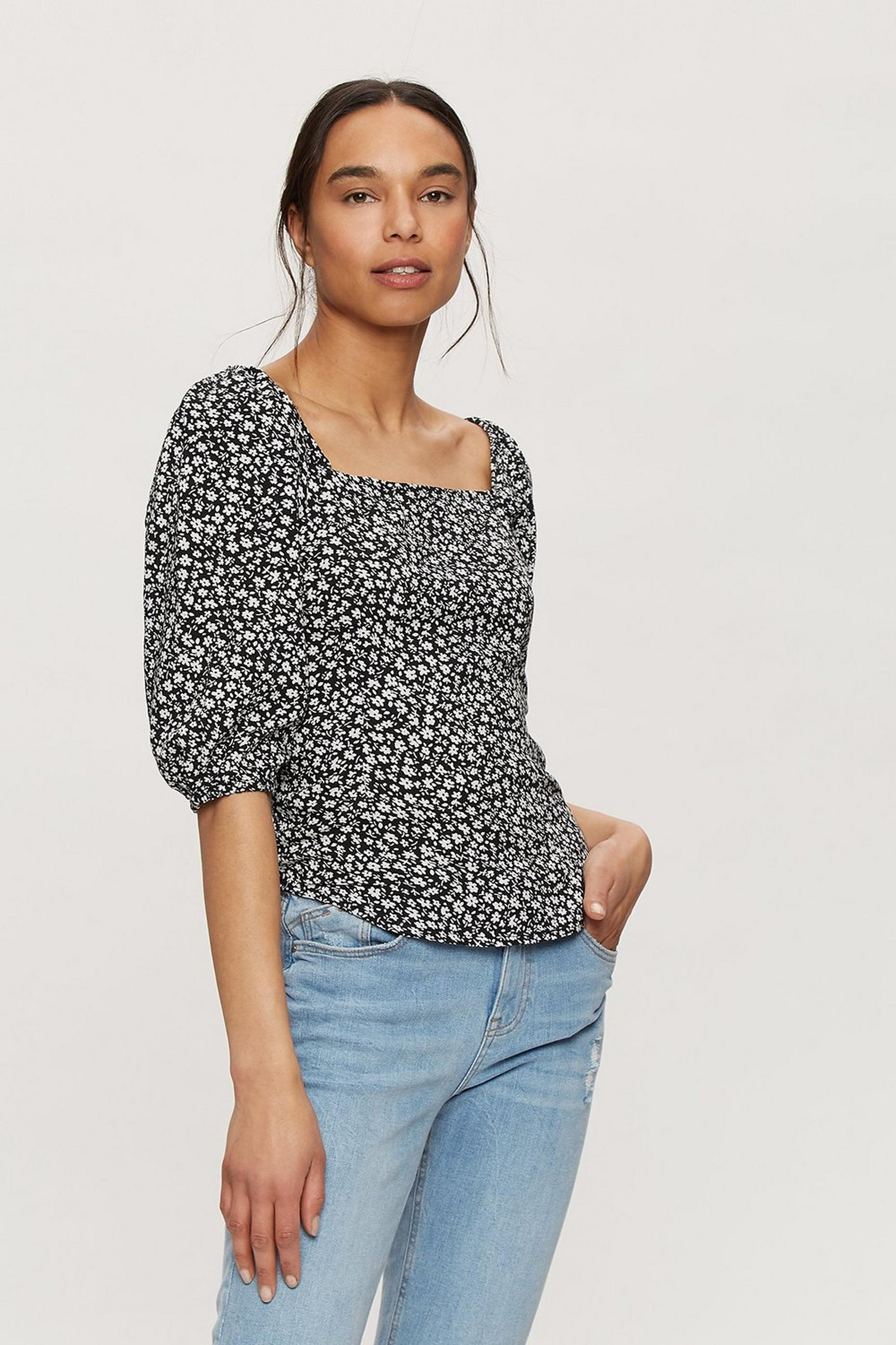 Black Ditsy Print 3/4 Sleeve Top