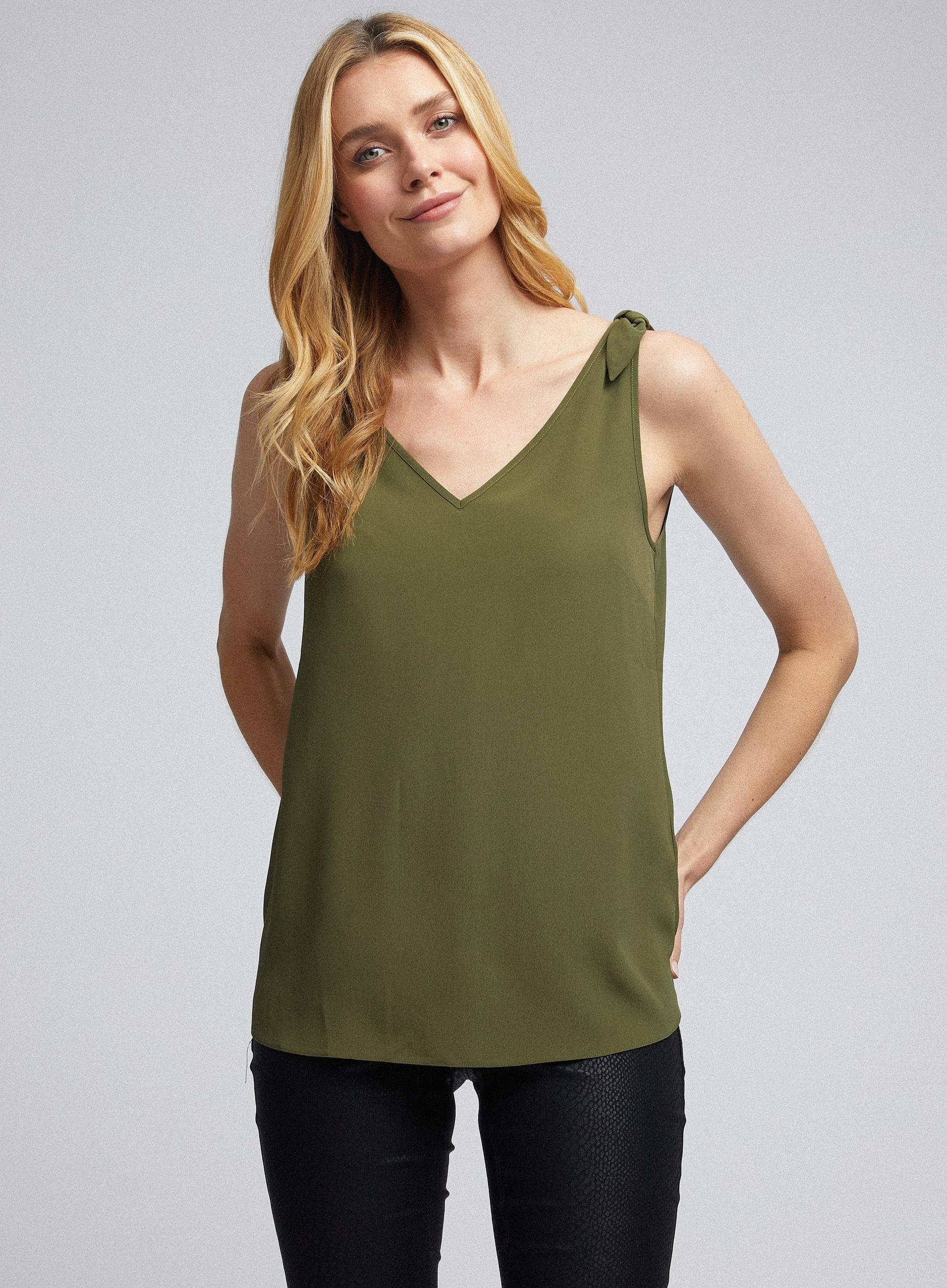 Khaki Tie Shoulder Cami Top