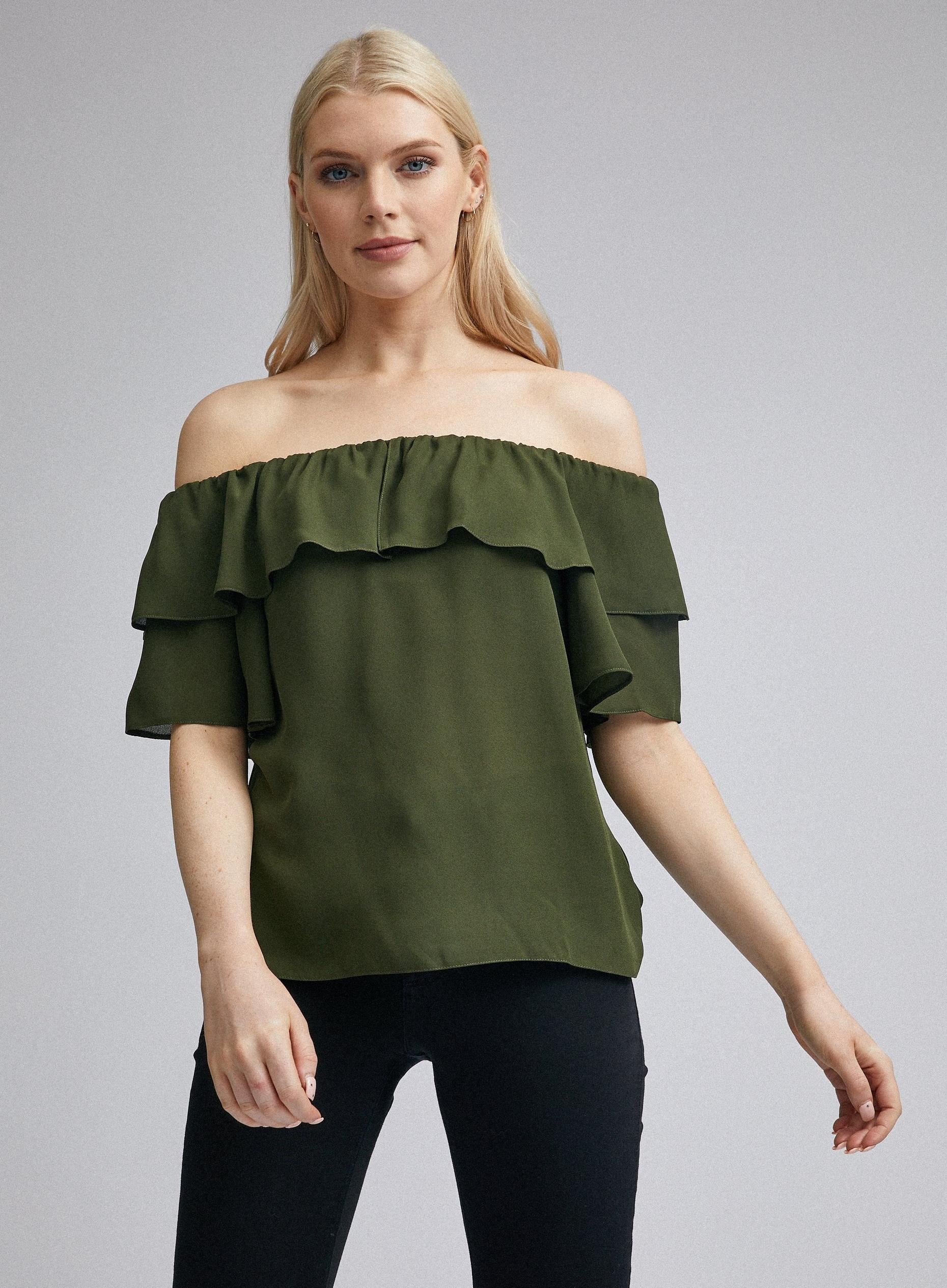 Khaki Double Ruffle Bardot Top