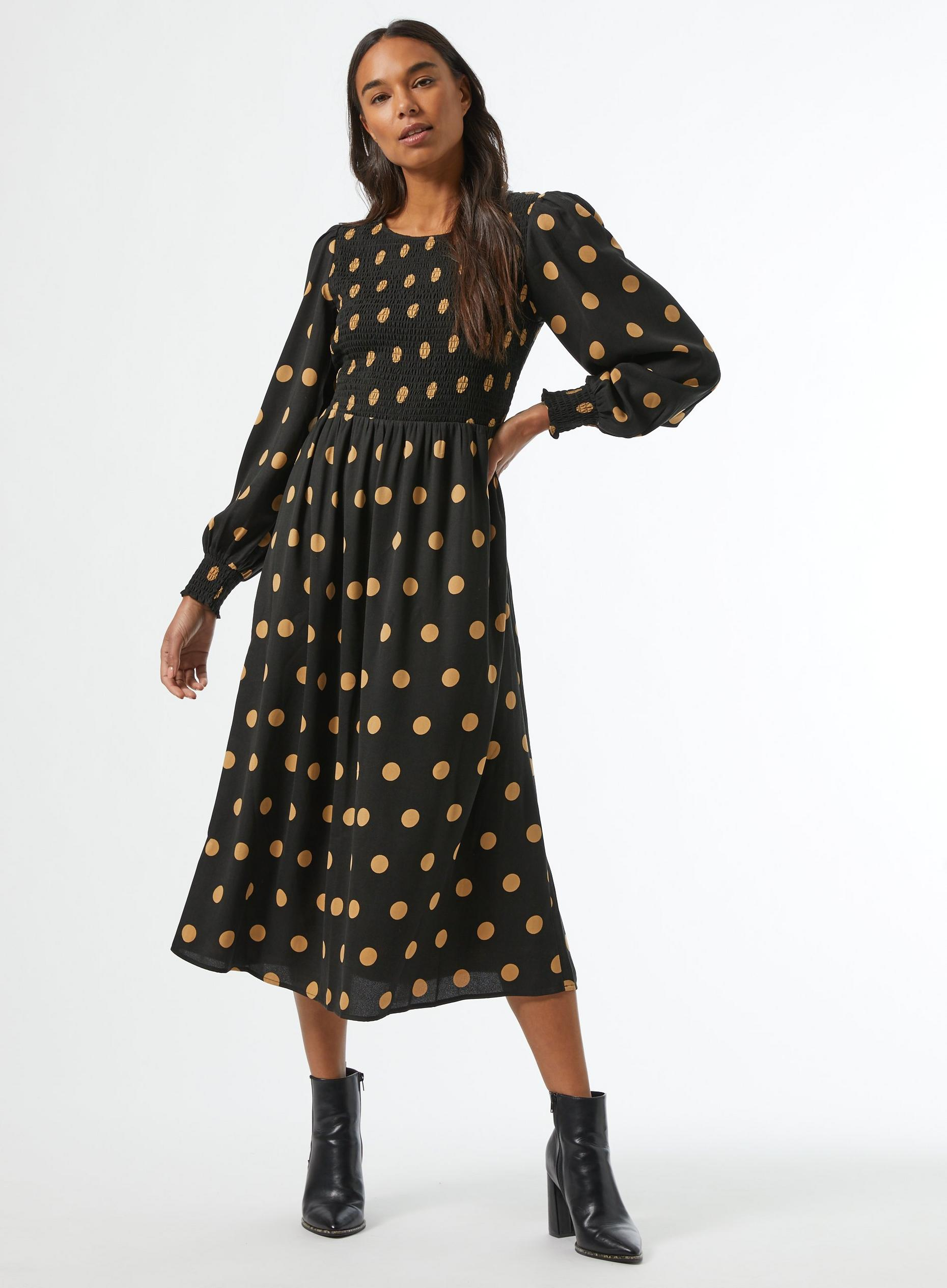 Camel Spot Print Sheered Midi Dress