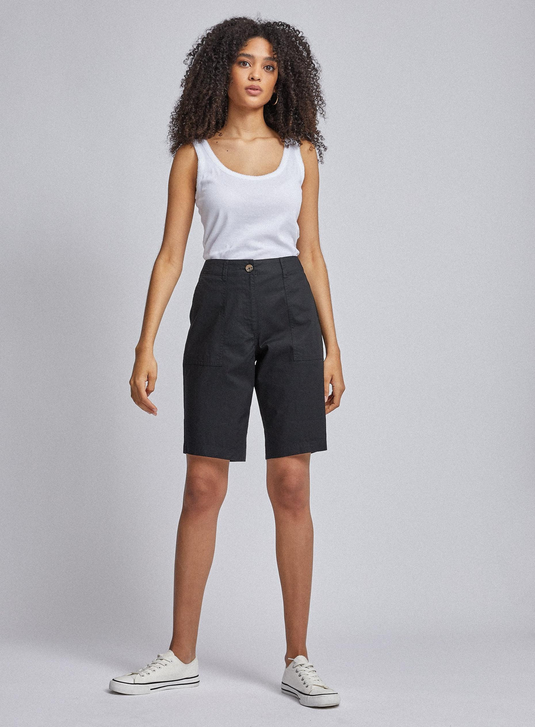 Black Poplin Knee Shorts