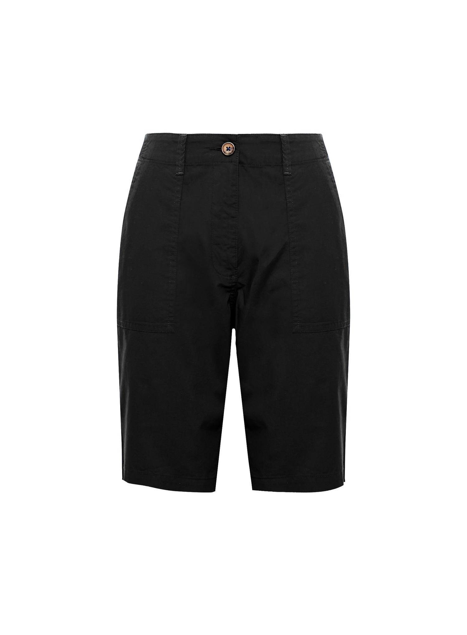 105 Black Poplin Knee Shorts image number 2