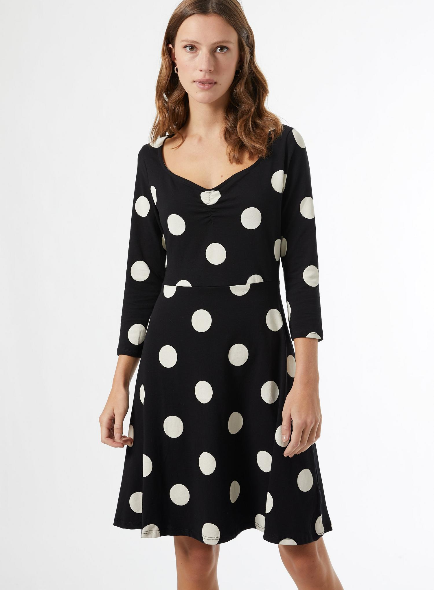 105 Black Spot Ruched Organic Cotton Mini Dress image number 2