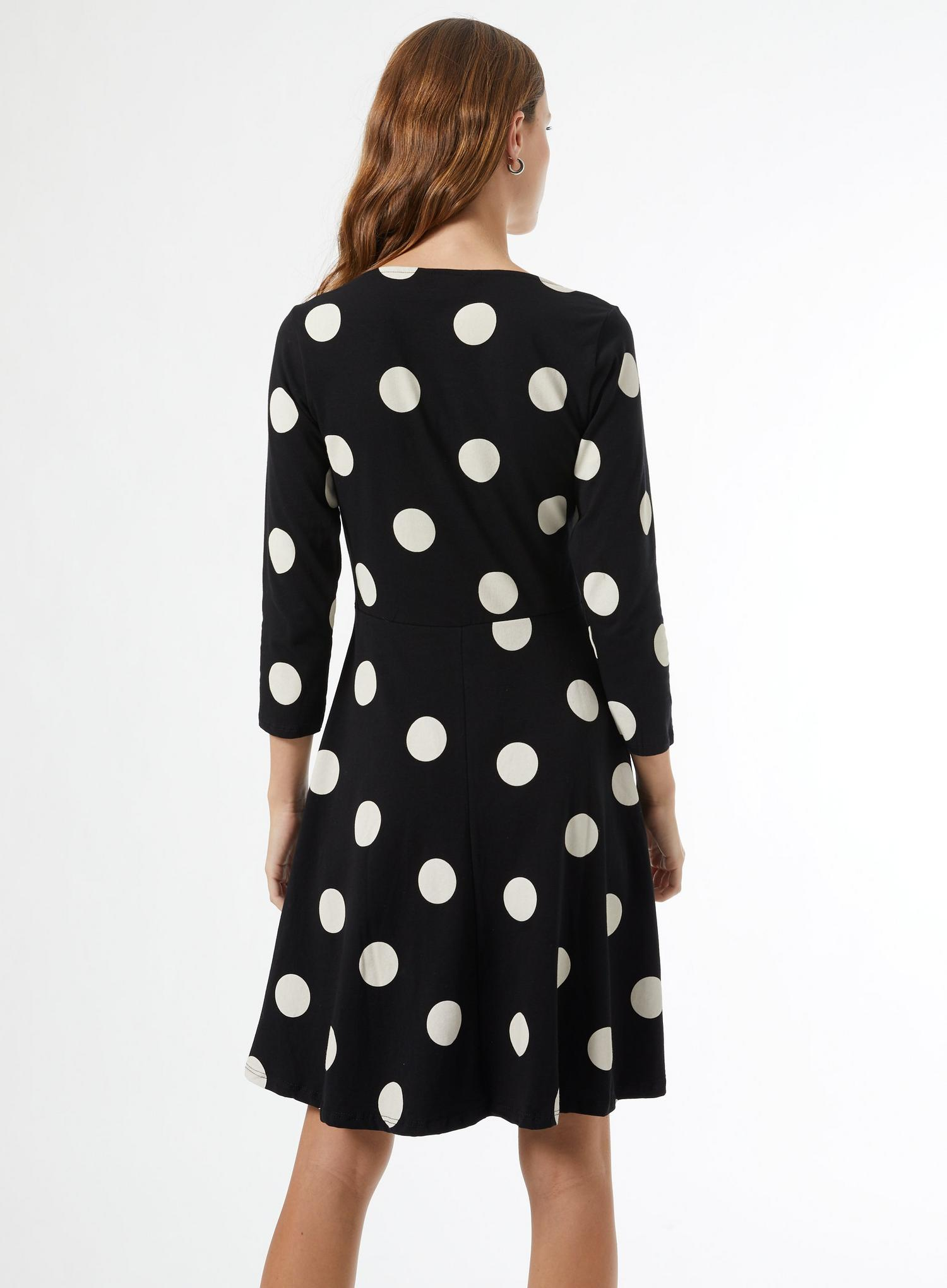 105 Black Spot Ruched Organic Cotton Mini Dress image number 4
