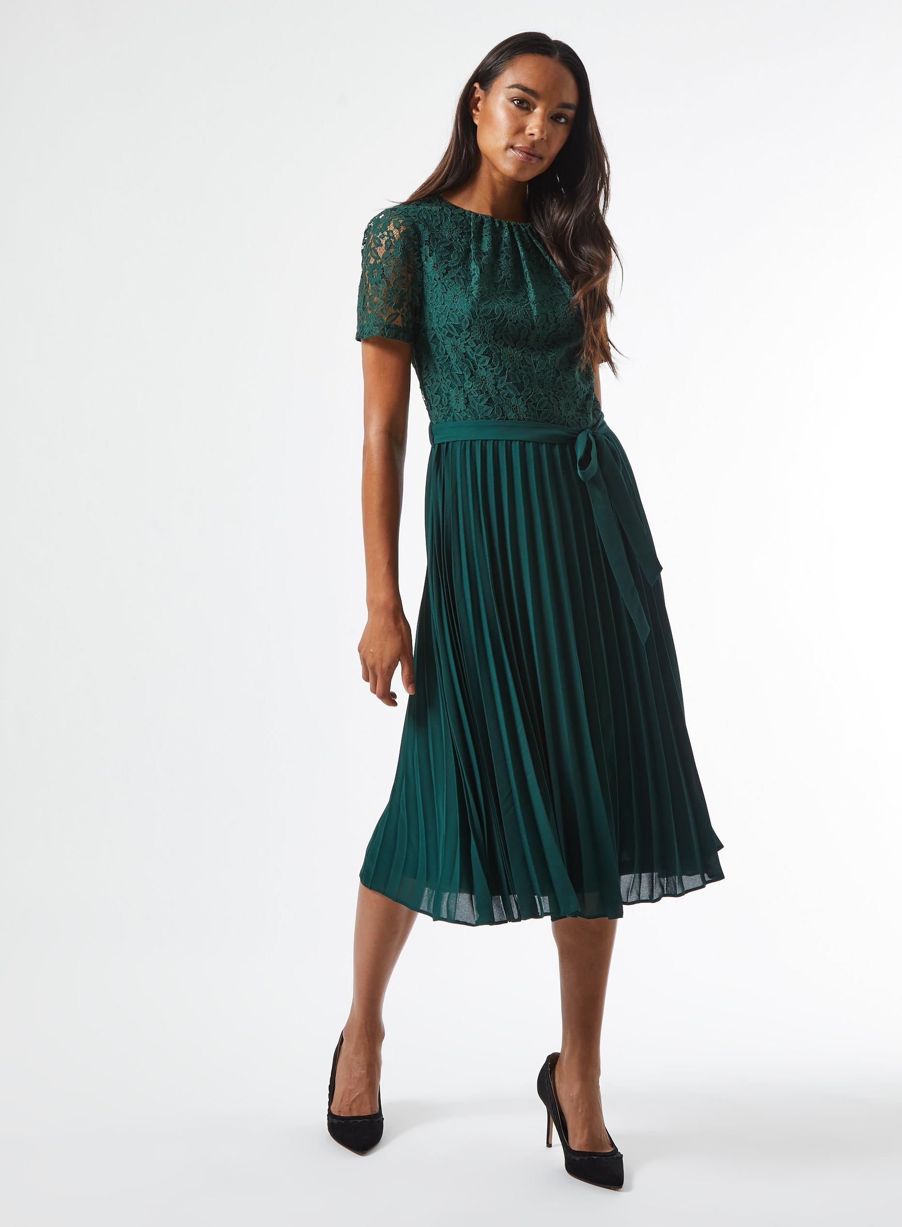 Green Lace Pleat Midi Dress