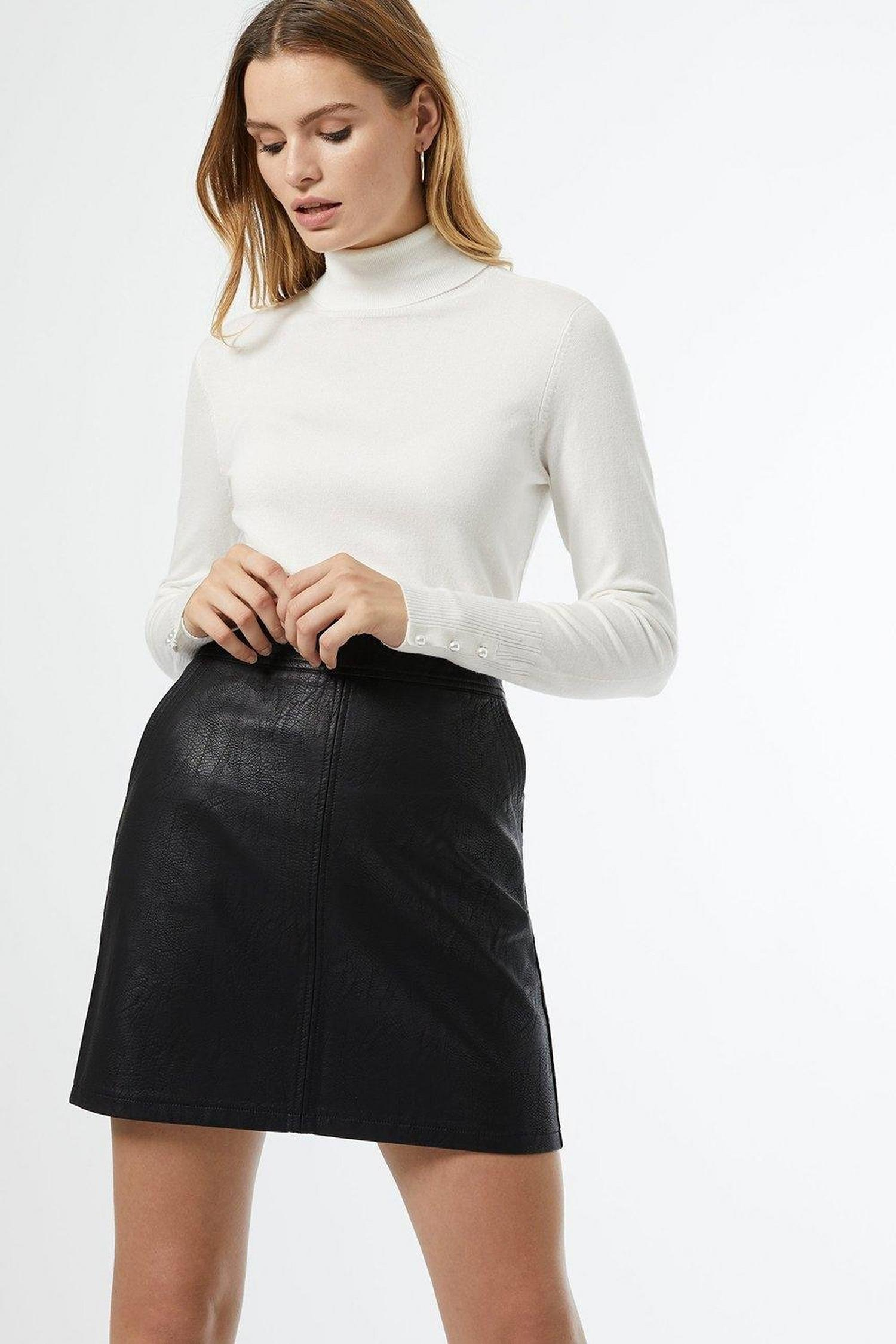 105 Black Faux Leather Pocket Mini Skirt image number 1