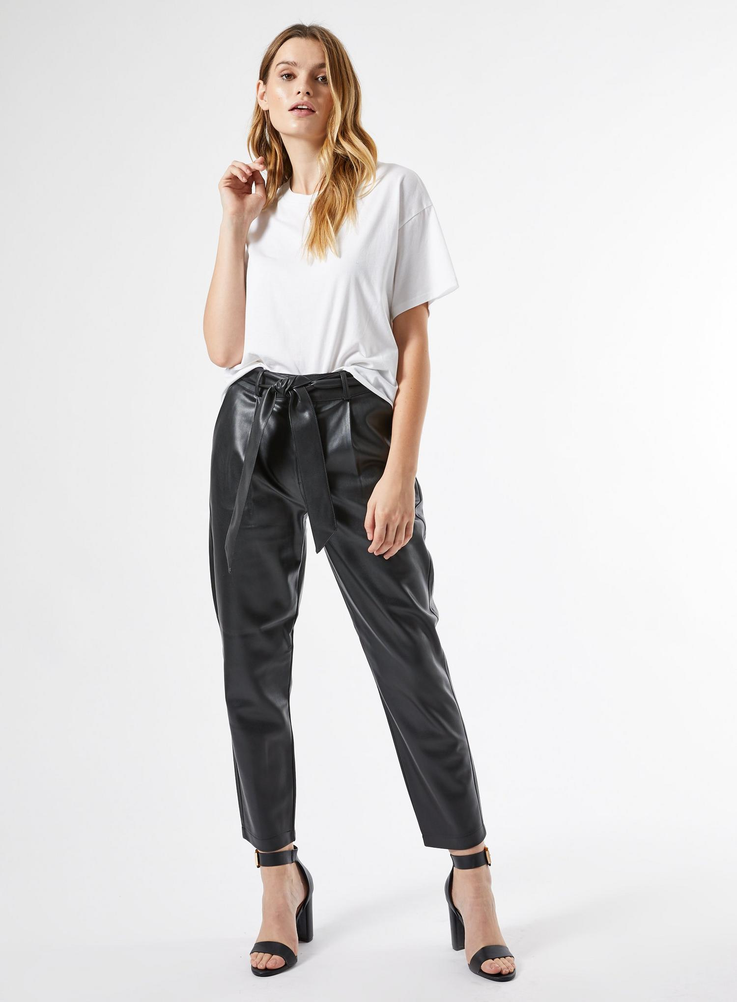 105 Black Faux Leather Belted Trousers image number 2