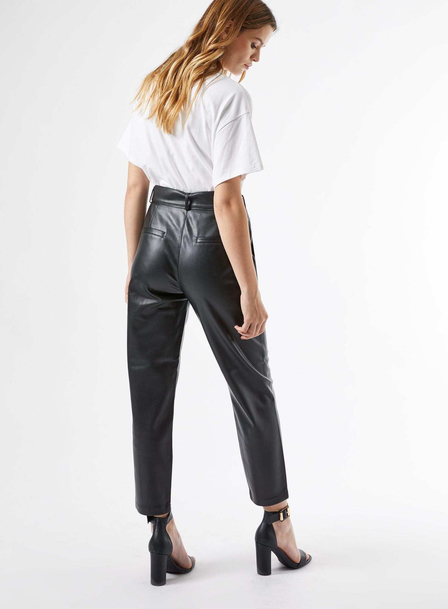 105 Black Faux Leather Belted Trousers image number 3