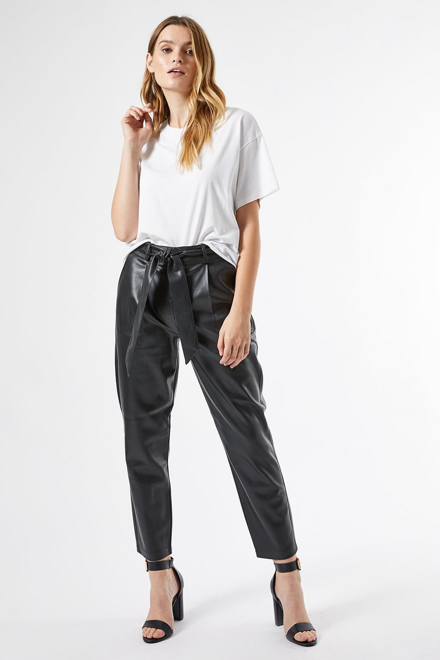 105 Black Faux Leather Belted Trousers image number 4