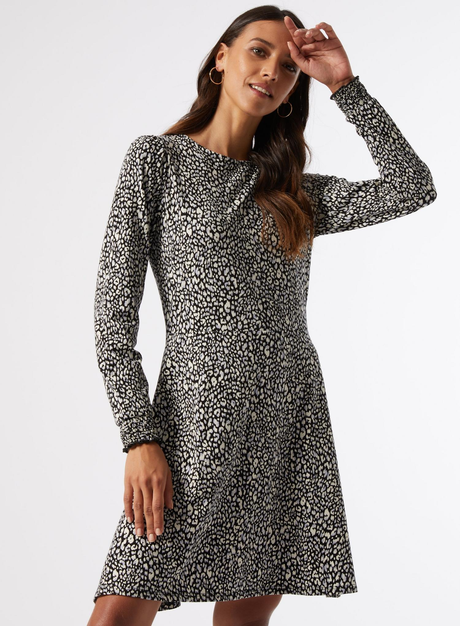 106 Blue Leopard  Organic Mini Fit And Flare Dress image number 2
