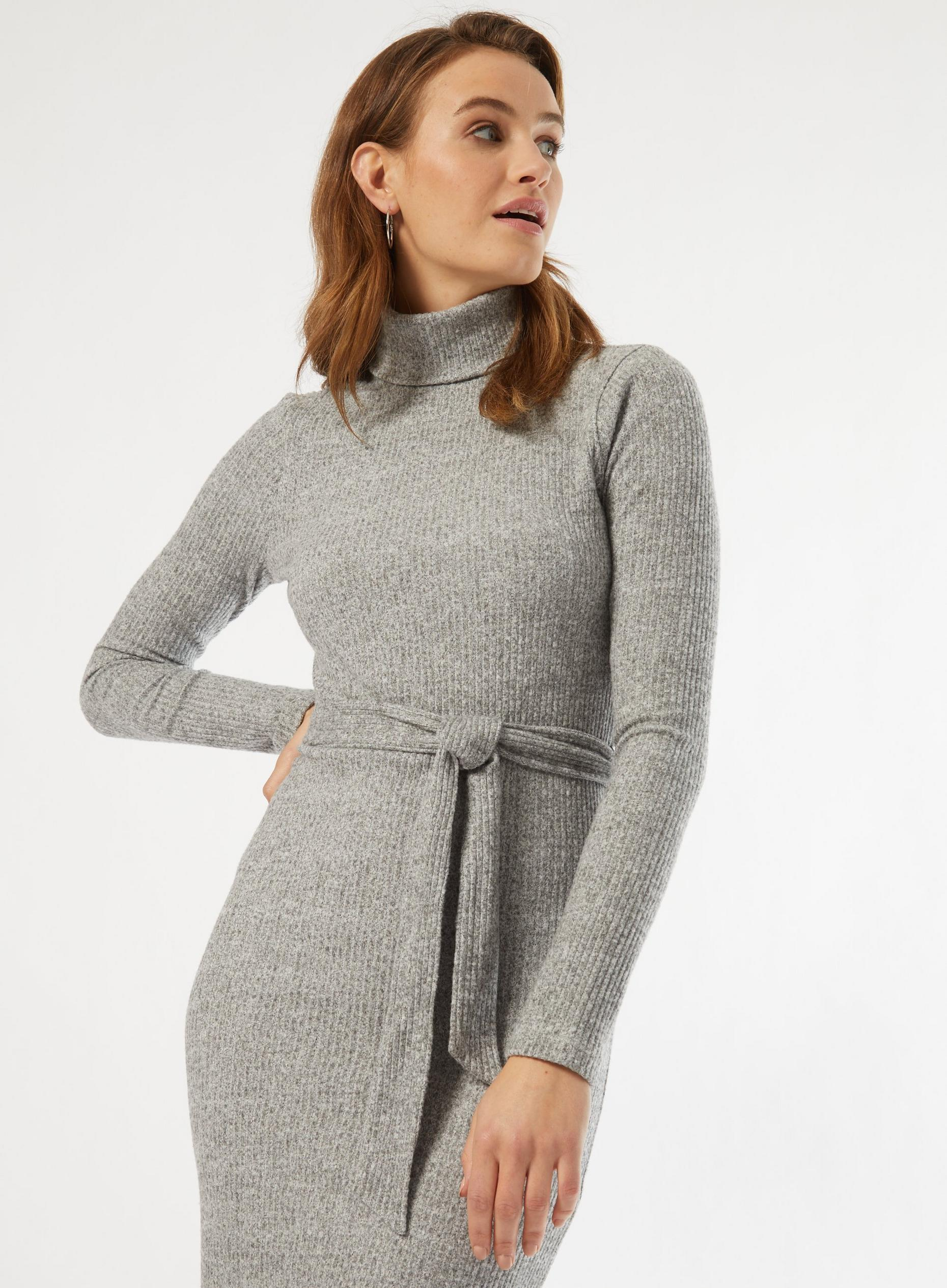 Grey Brushed Rib Bodycon Dress