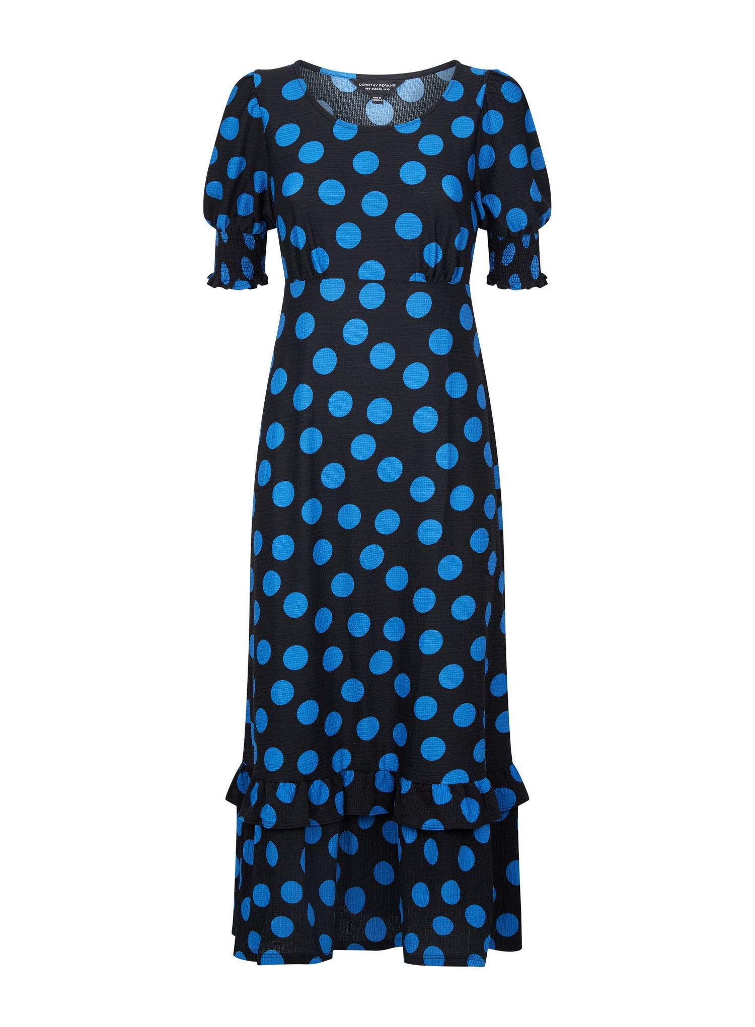 105 Blue Spot Print Textured Maxi Dress image number 2