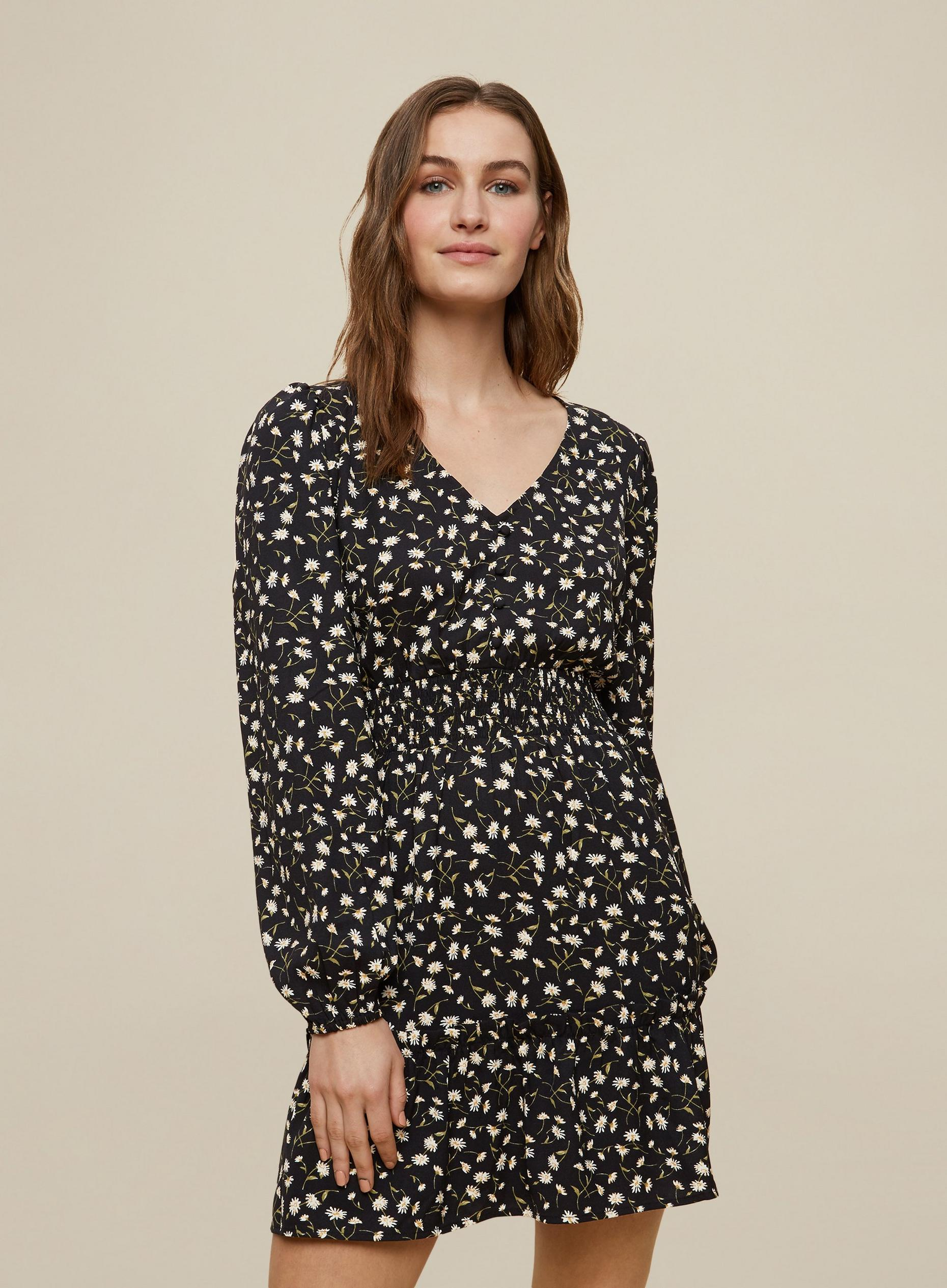 Black Daisy Print Sheered Mini Dress