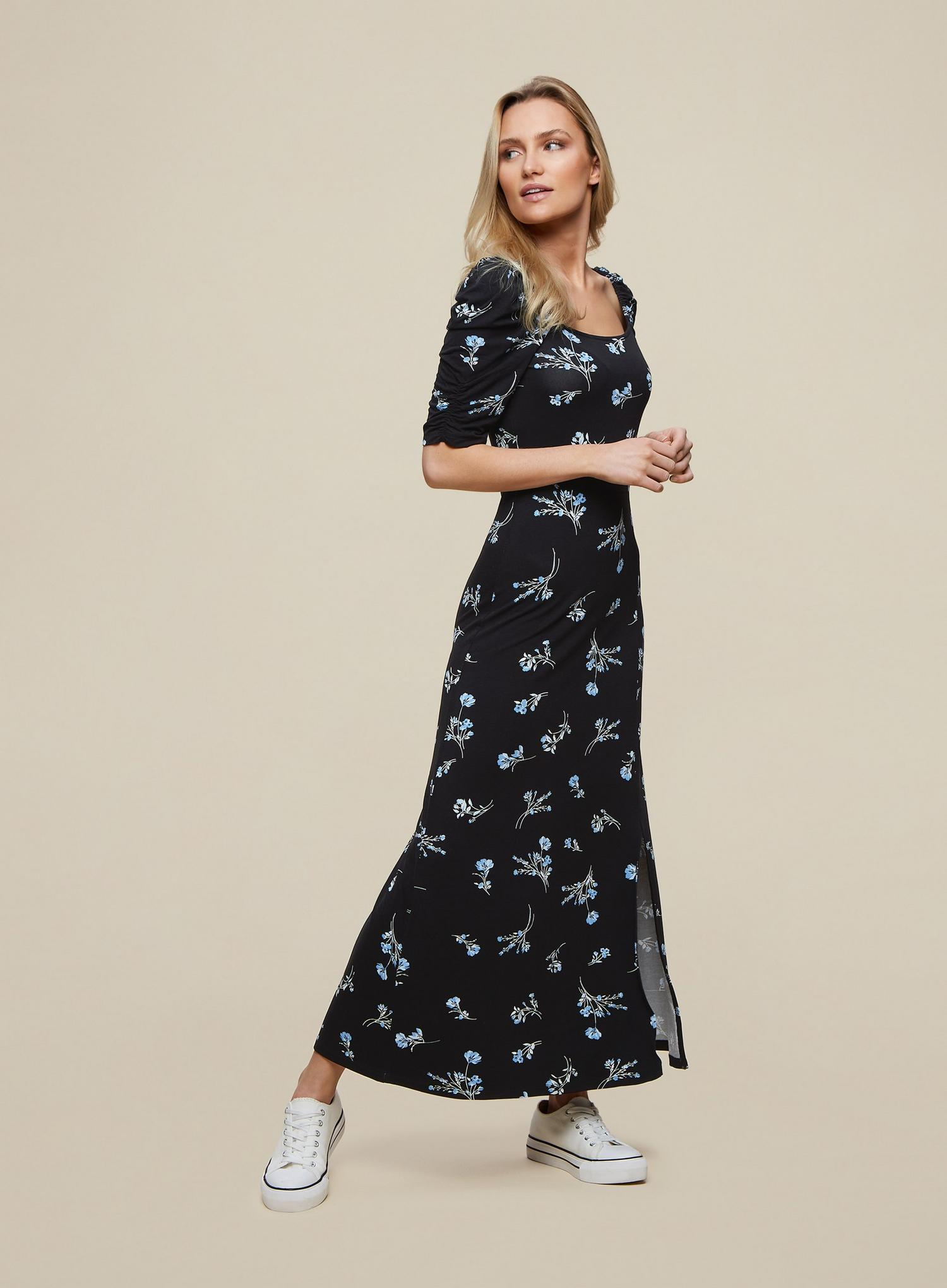 105 Black Floral Print Midi Dress image number 1