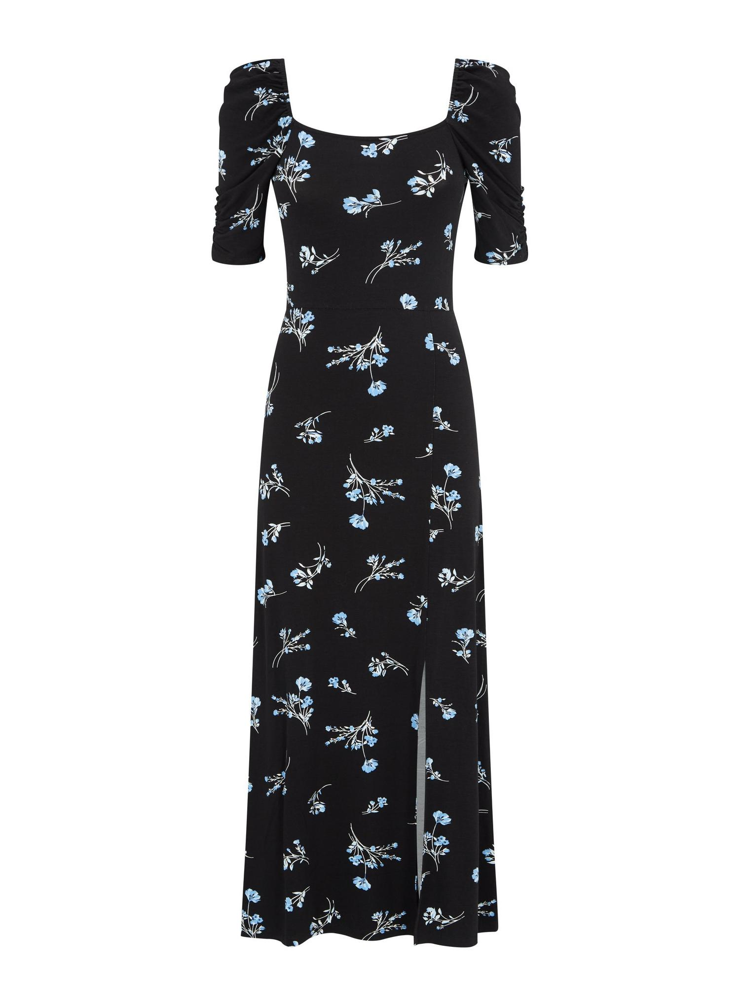105 Black Floral Print Midi Dress image number 2