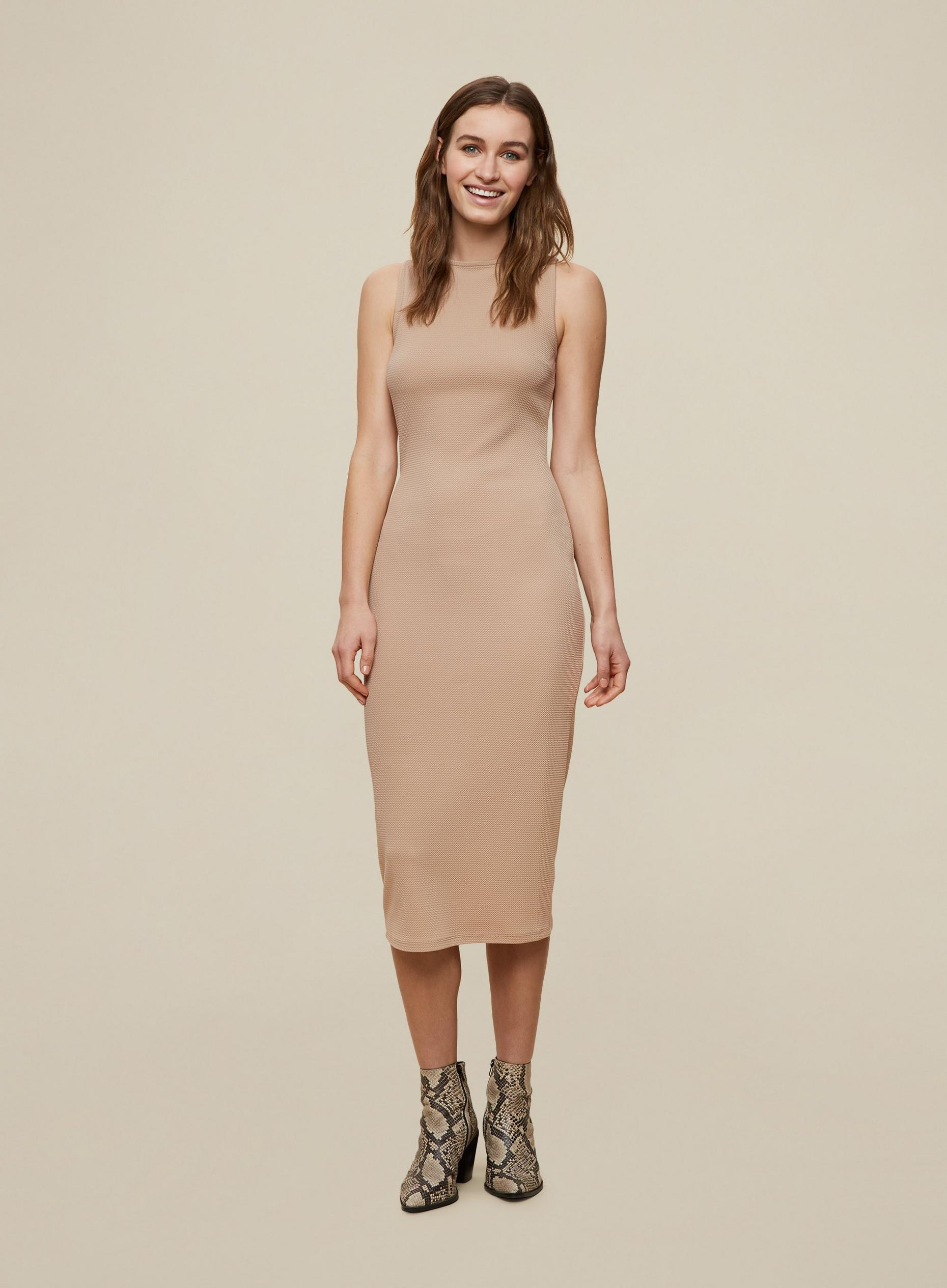 Camel Sleeveless Bodycon Dress
