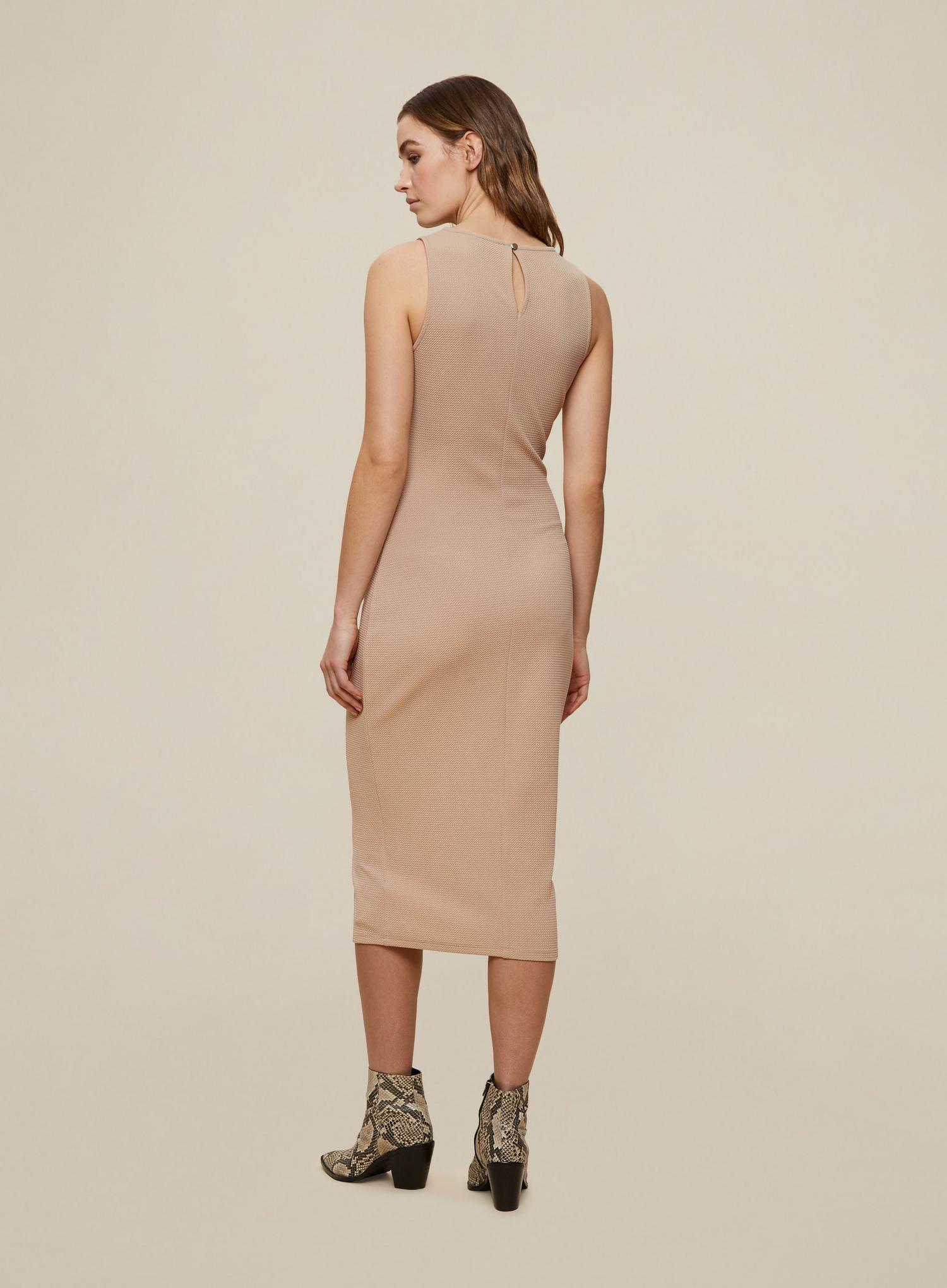 641 Camel Sleeveless Bodycon Dress image number 2