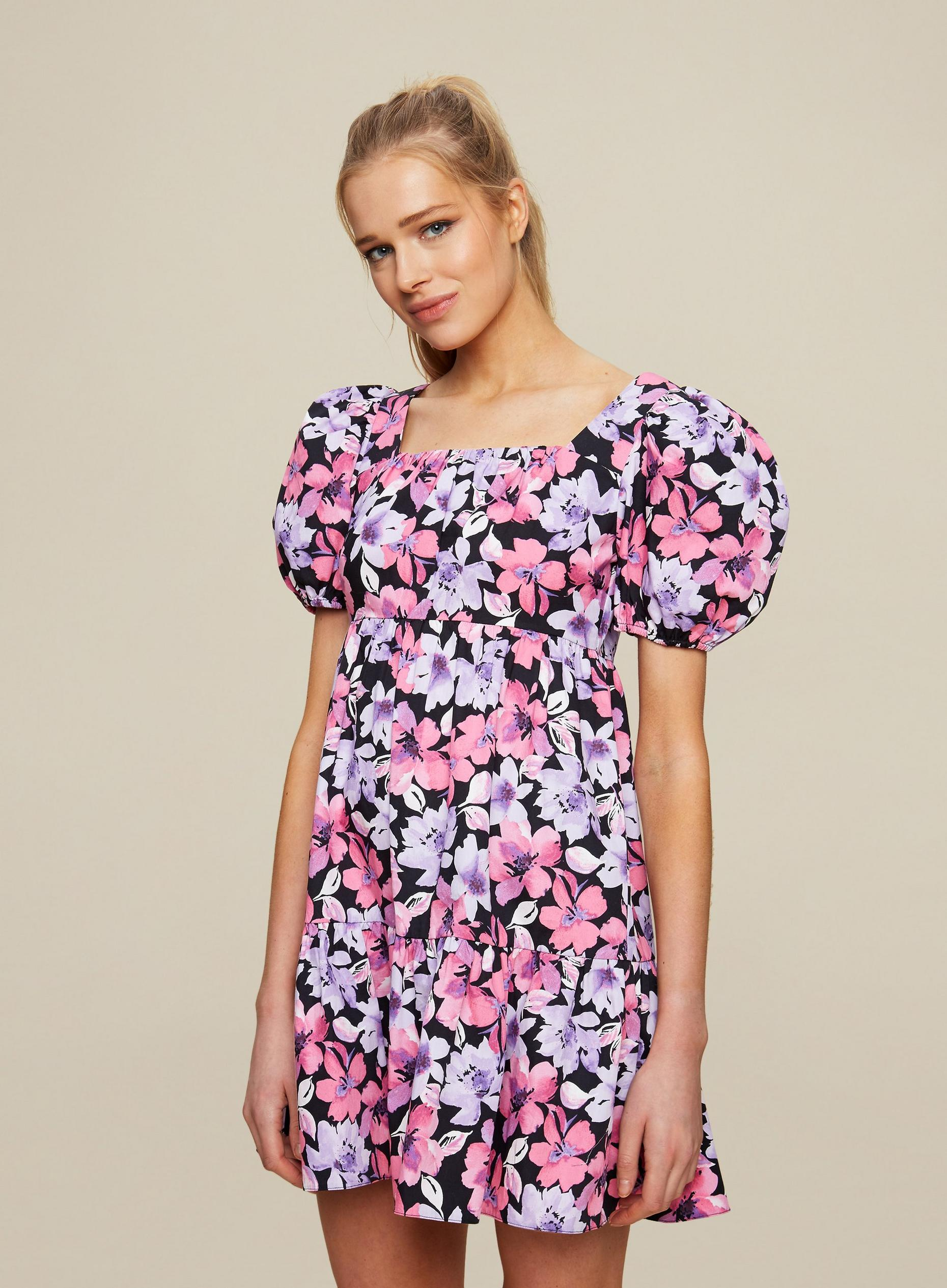 Multi Colour Floral Print Smock Dress