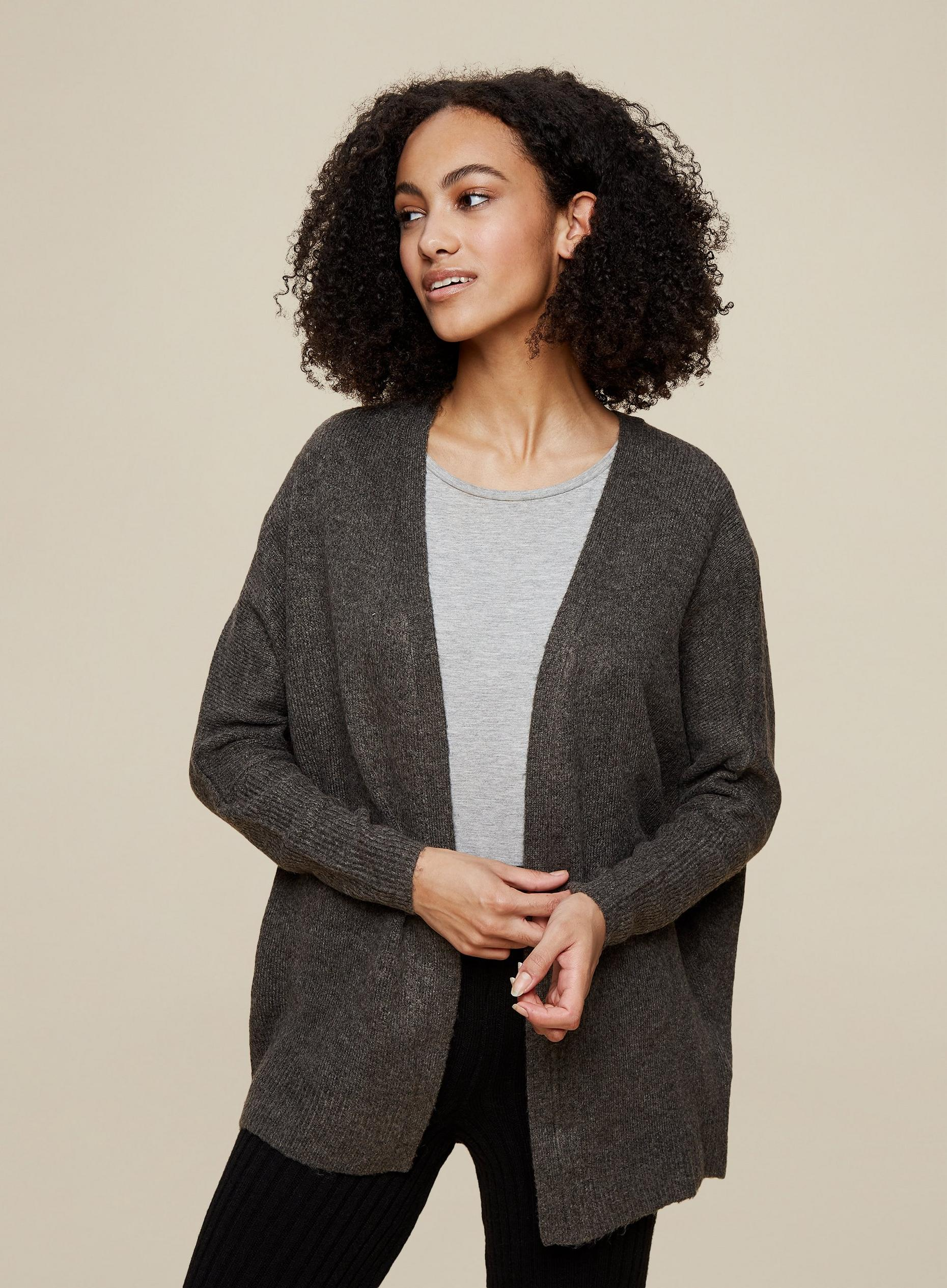 Tall Grey Knitted Cardigan