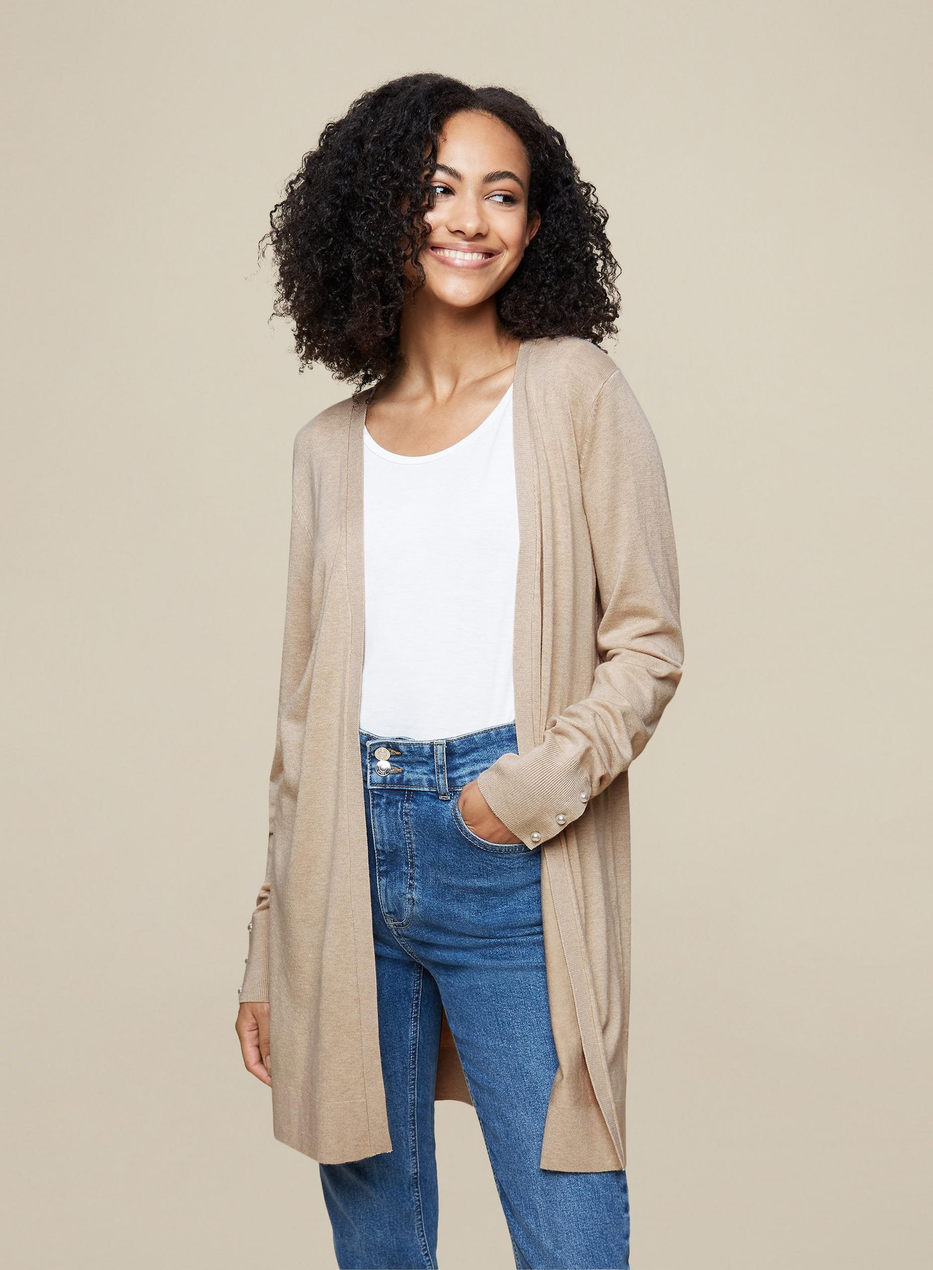 Tall Cream Pearl Cardigan