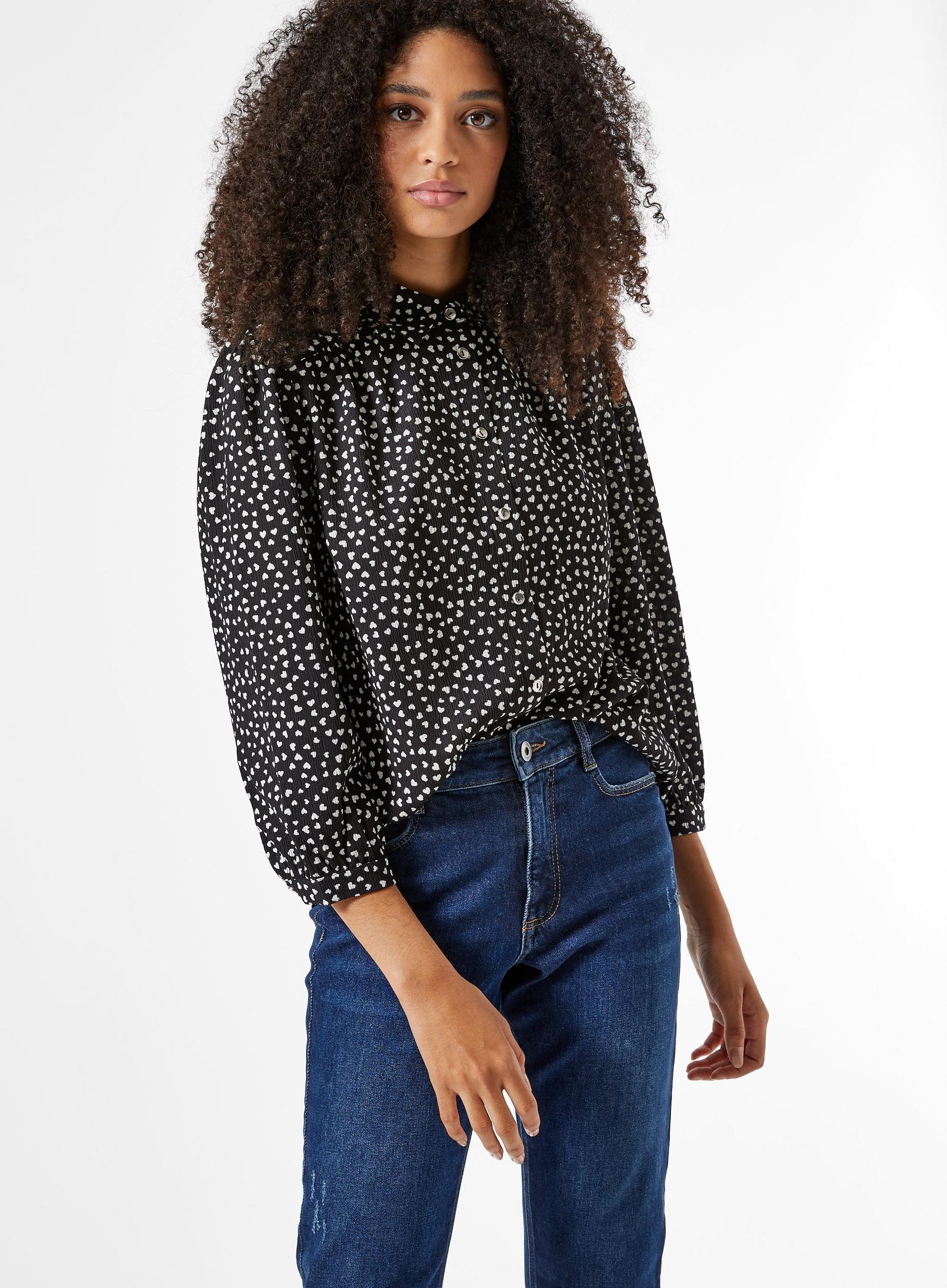 Black And White Heart Print Textured Shirt